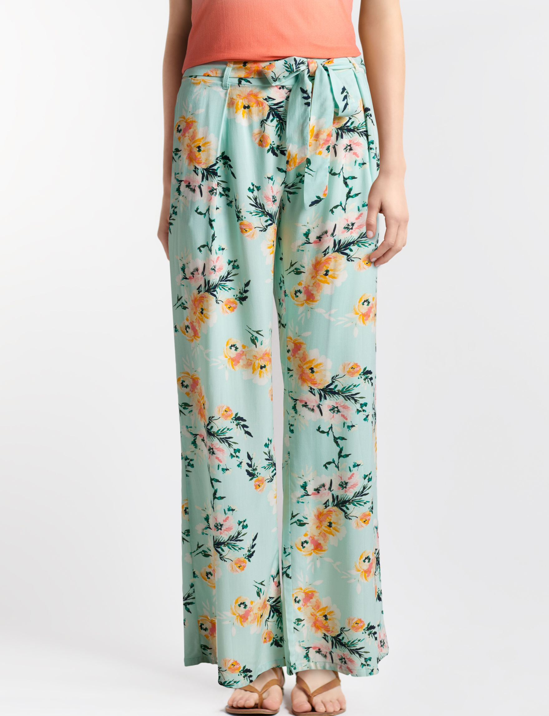 BeBop Mint Floral Wide Leg