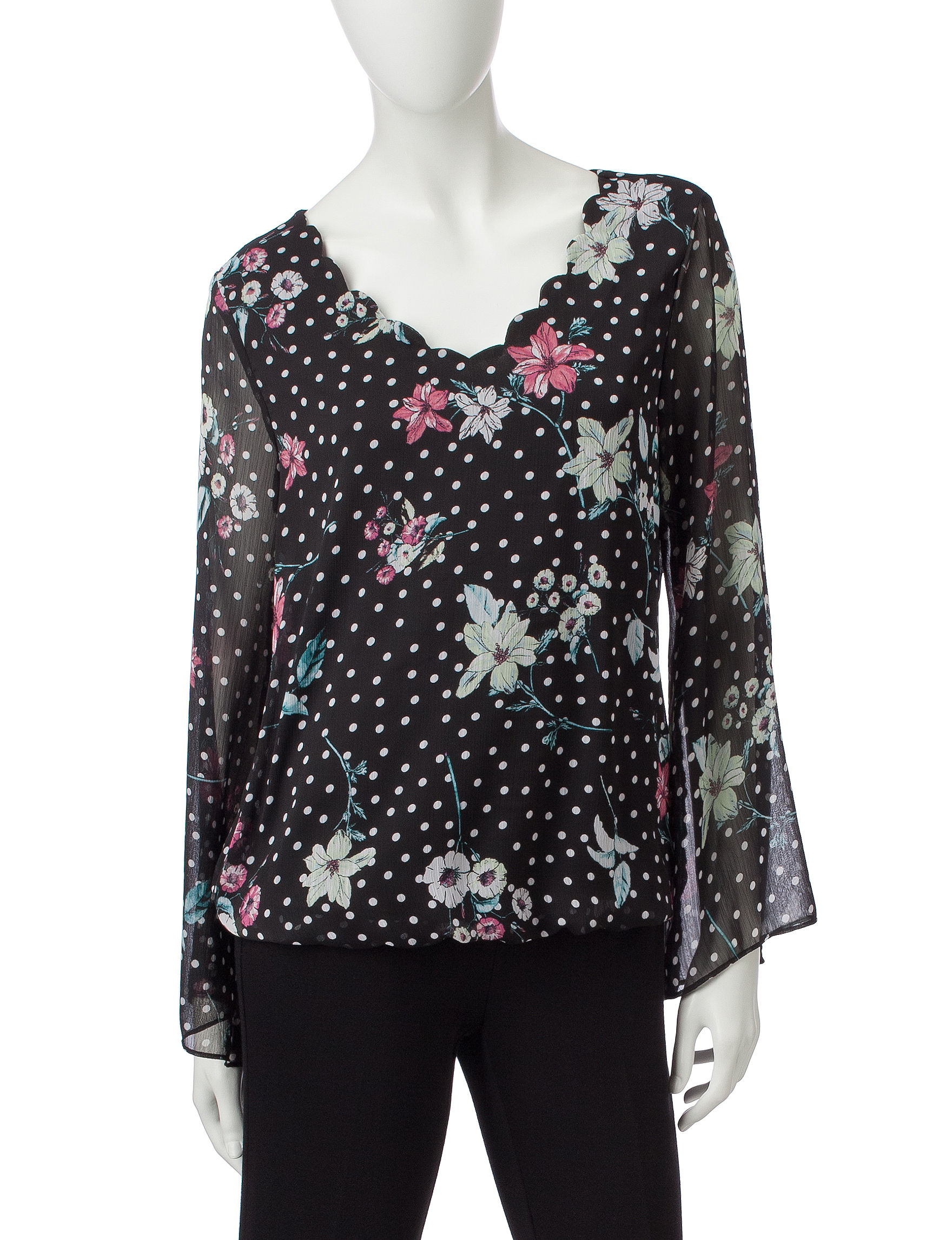 A. Byer Black Multi Shirts & Blouses