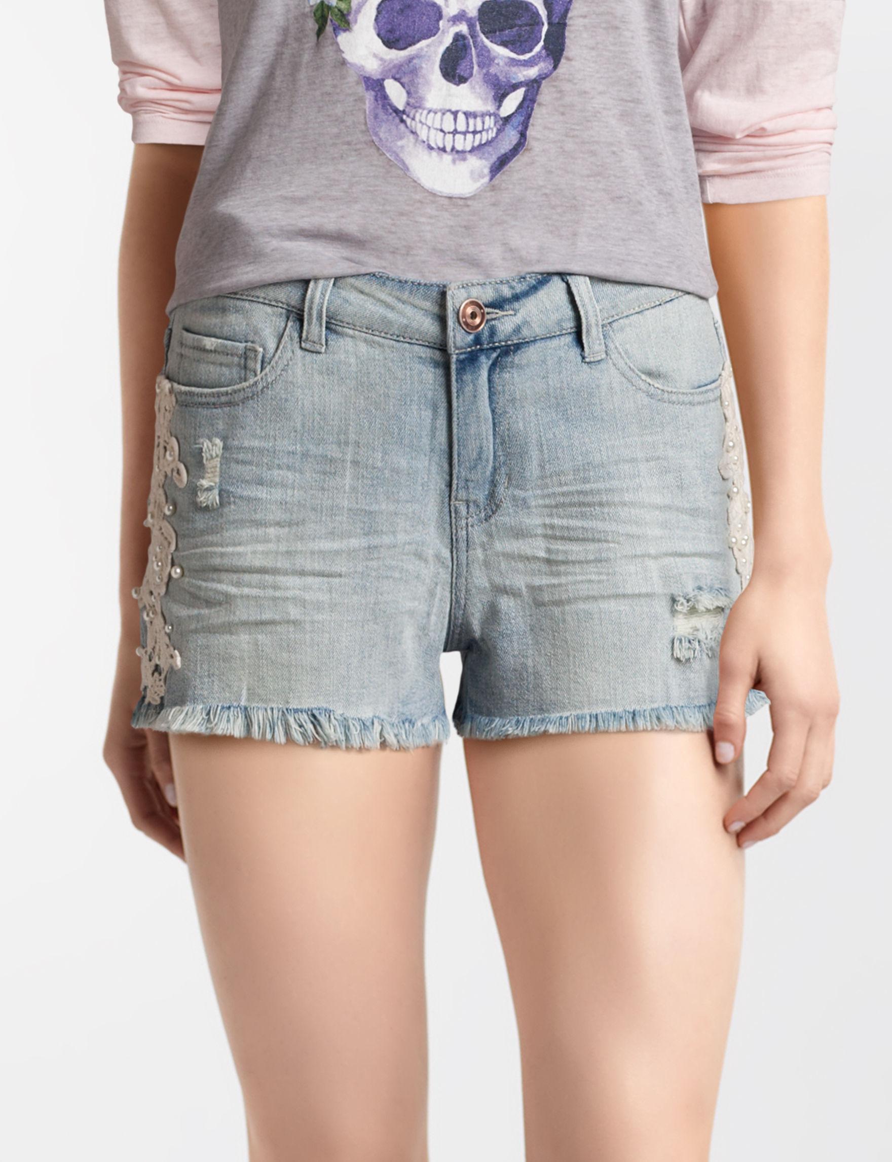 Vanilla Star Light Wash Denim Shorts