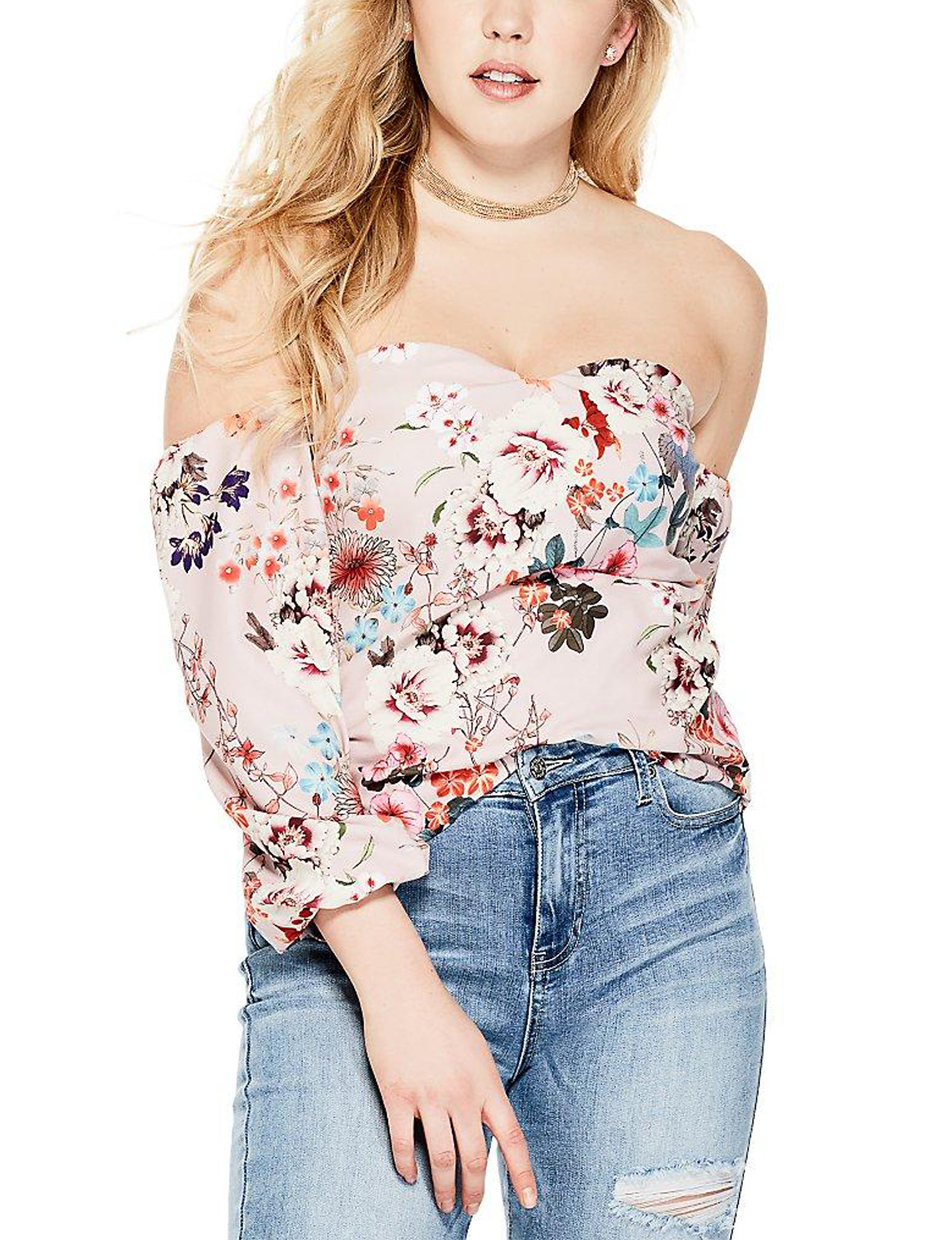 G by Guess Pink Floral Shirts & Blouses