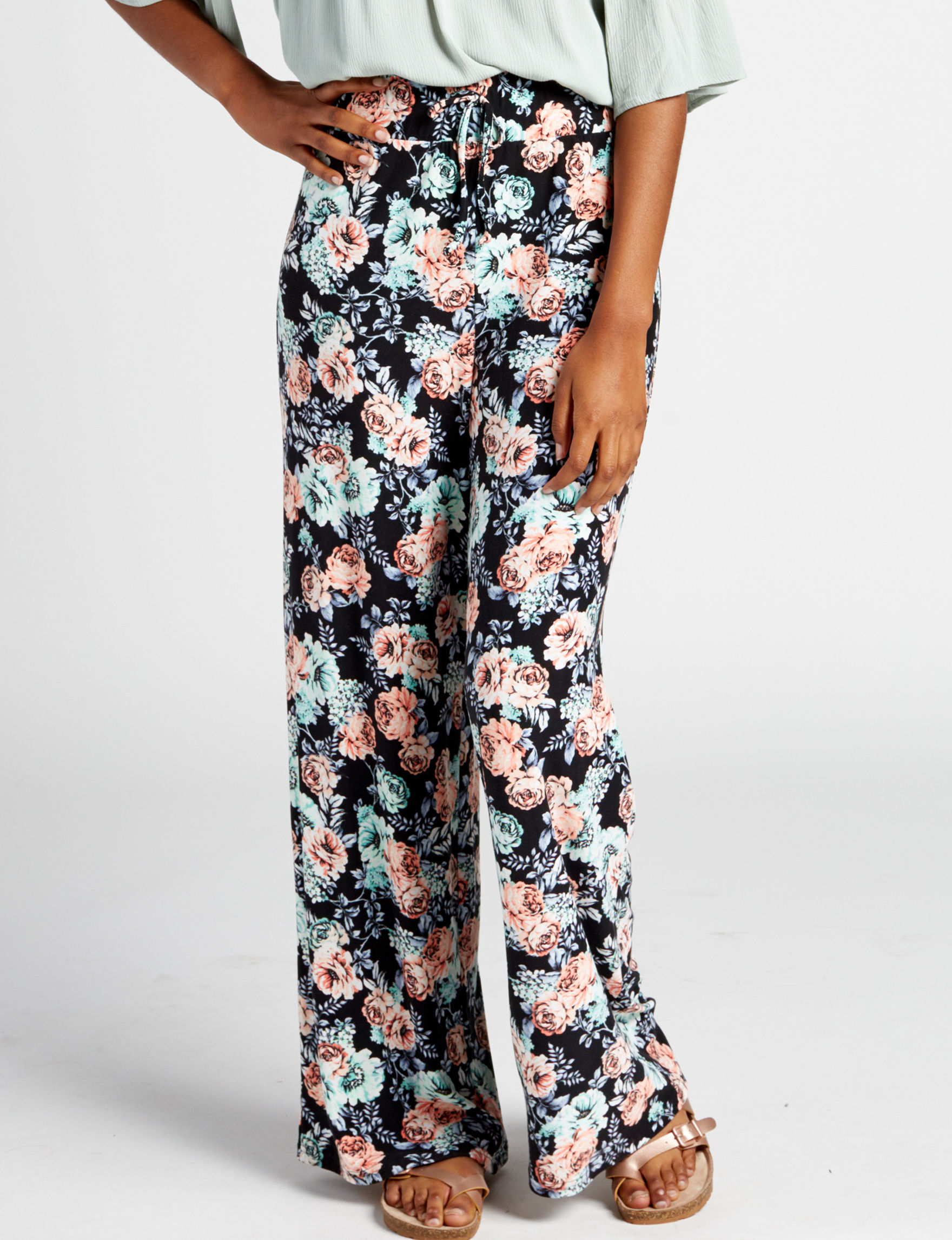 No Comment Black Floral Wide Leg