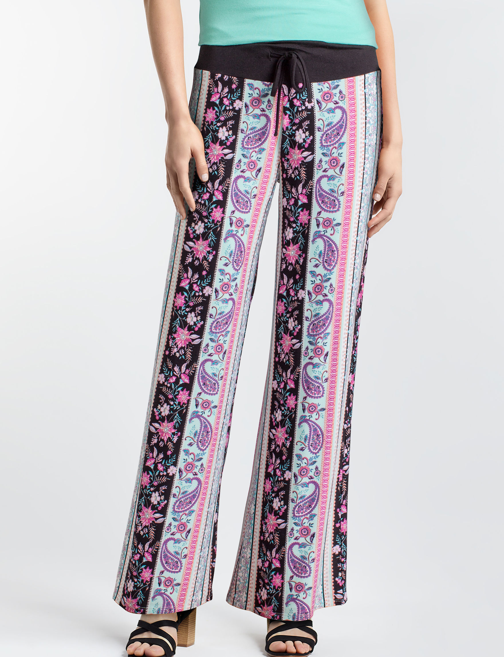No Comment Black Floral Stretch Wide Leg
