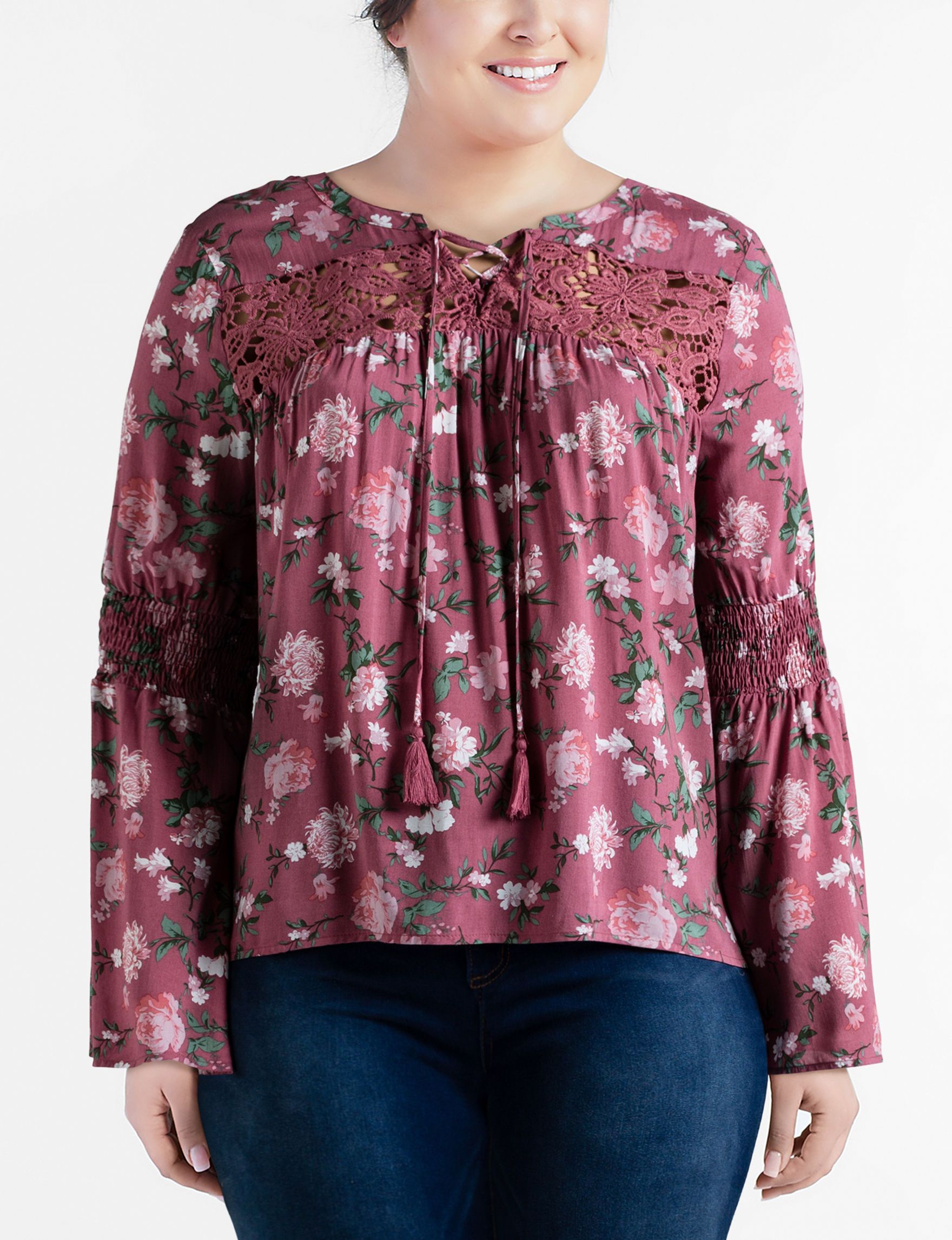 Moral Fiber Pink Multi Shirts & Blouses