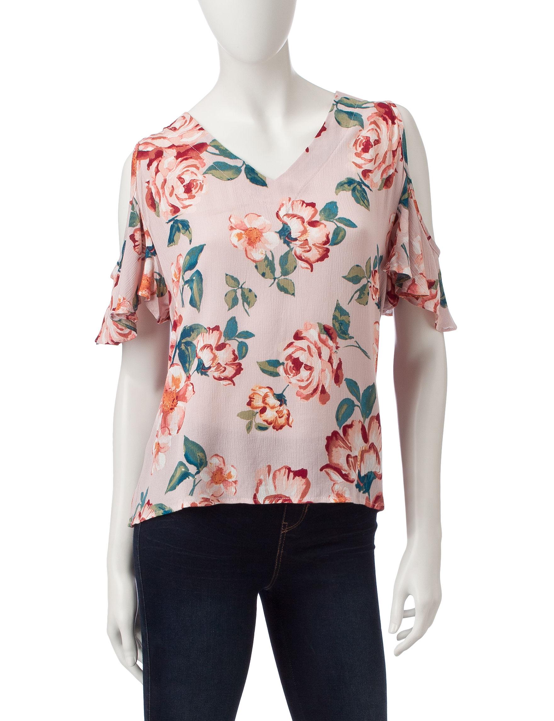 Wishful Park Pink Floral Shirts & Blouses