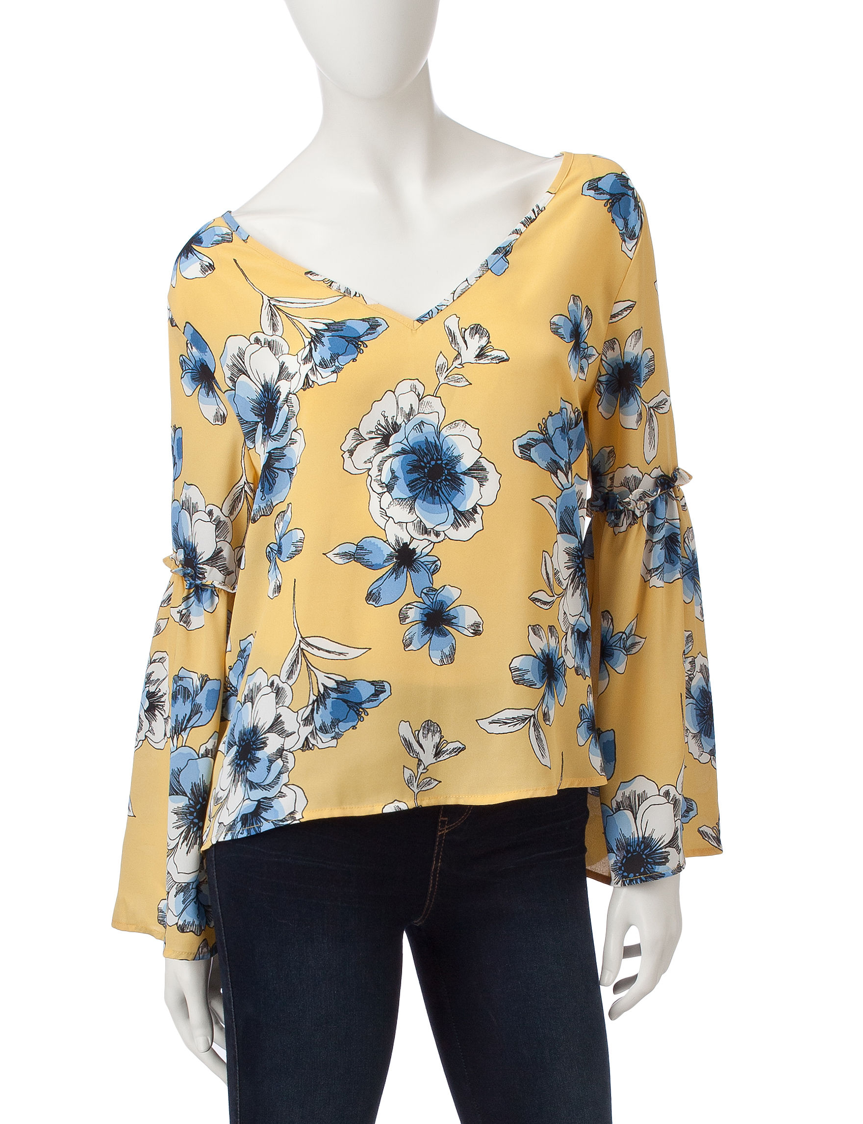 Wishful Park Yellow Floral Shirts & Blouses