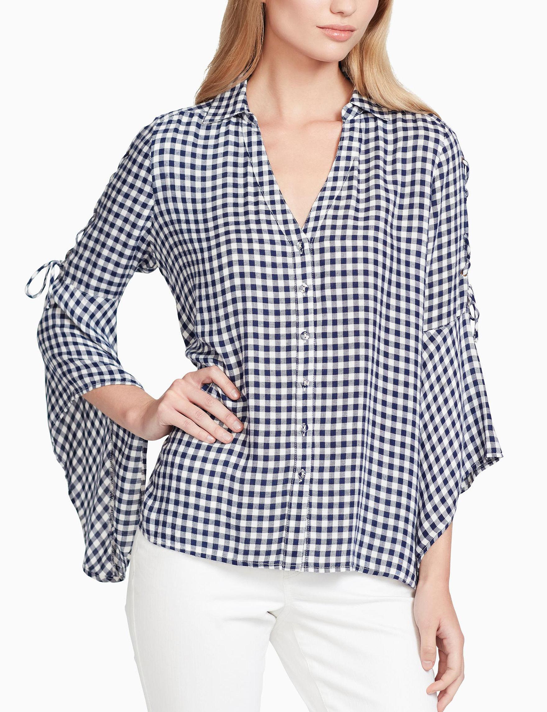 Jessica Simpson Blue / White Shirts & Blouses