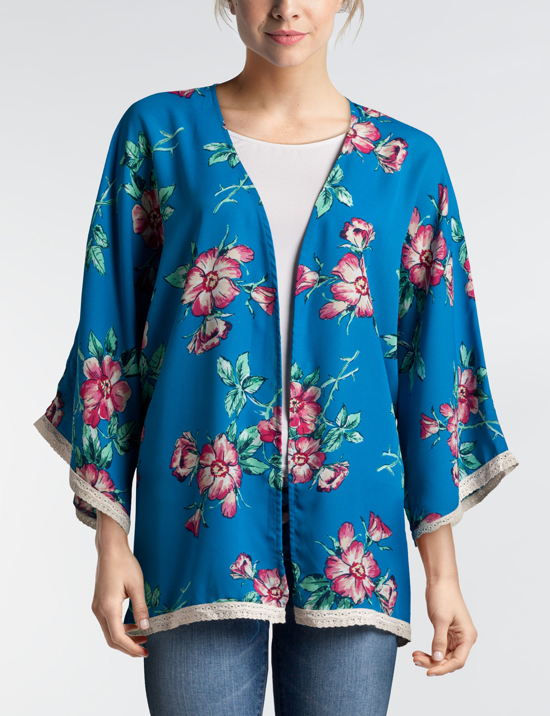 Wishful Park Blue Floral Kimonos & Toppers