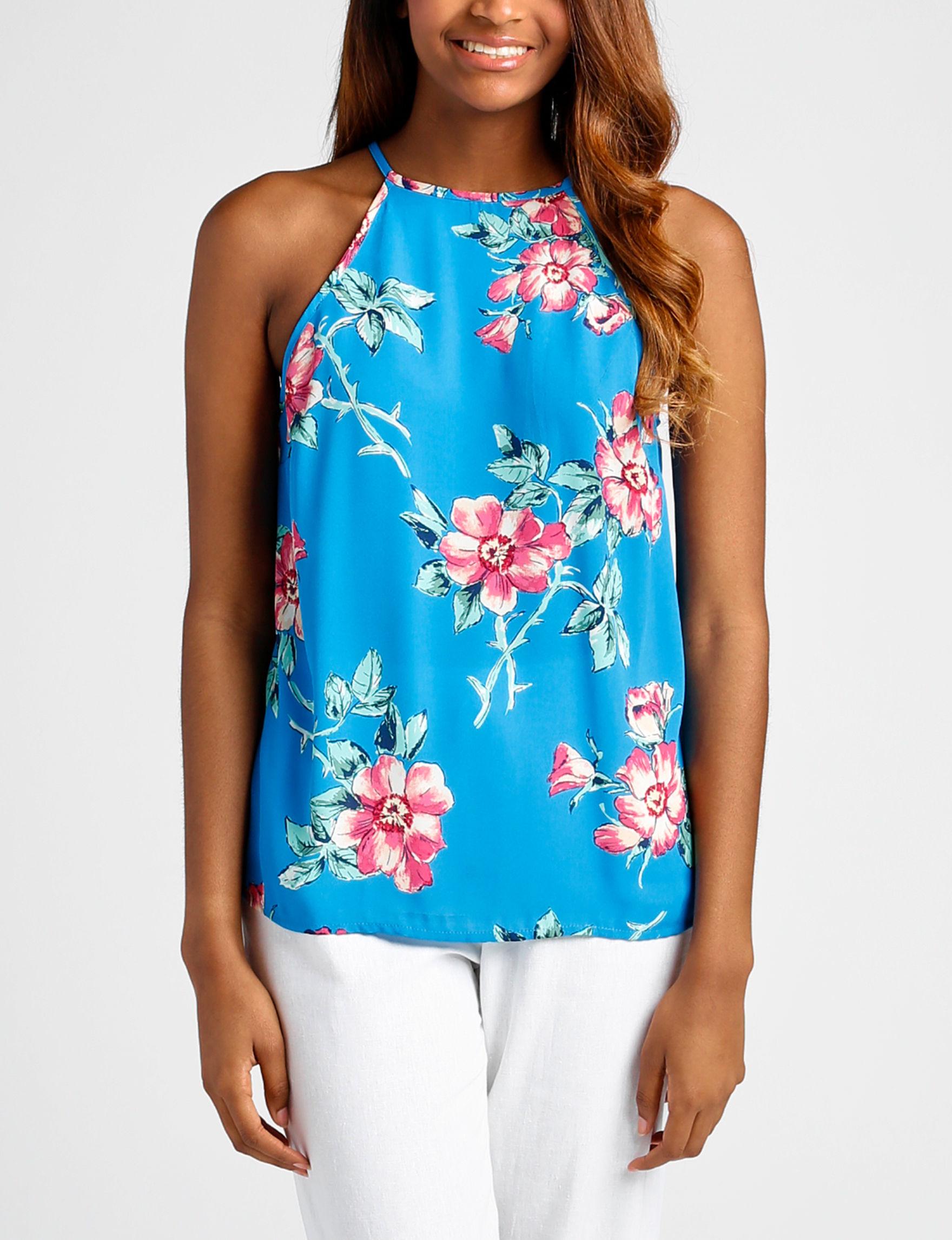 Wishful Park Blue Floral Shirts & Blouses