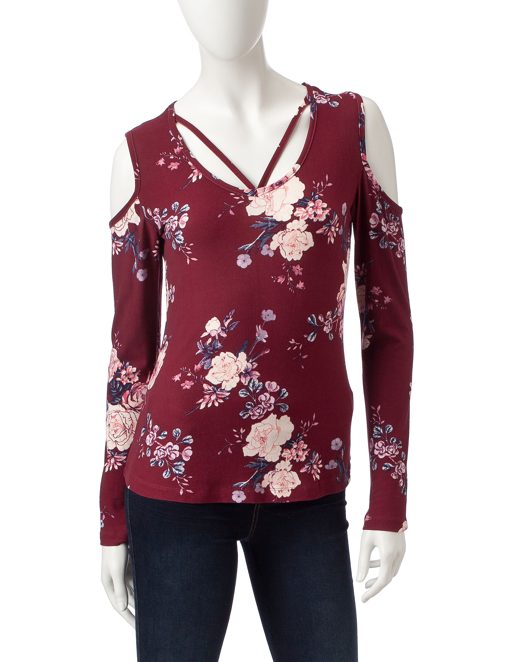 Wishful Park Burgundy Floral Shirts & Blouses
