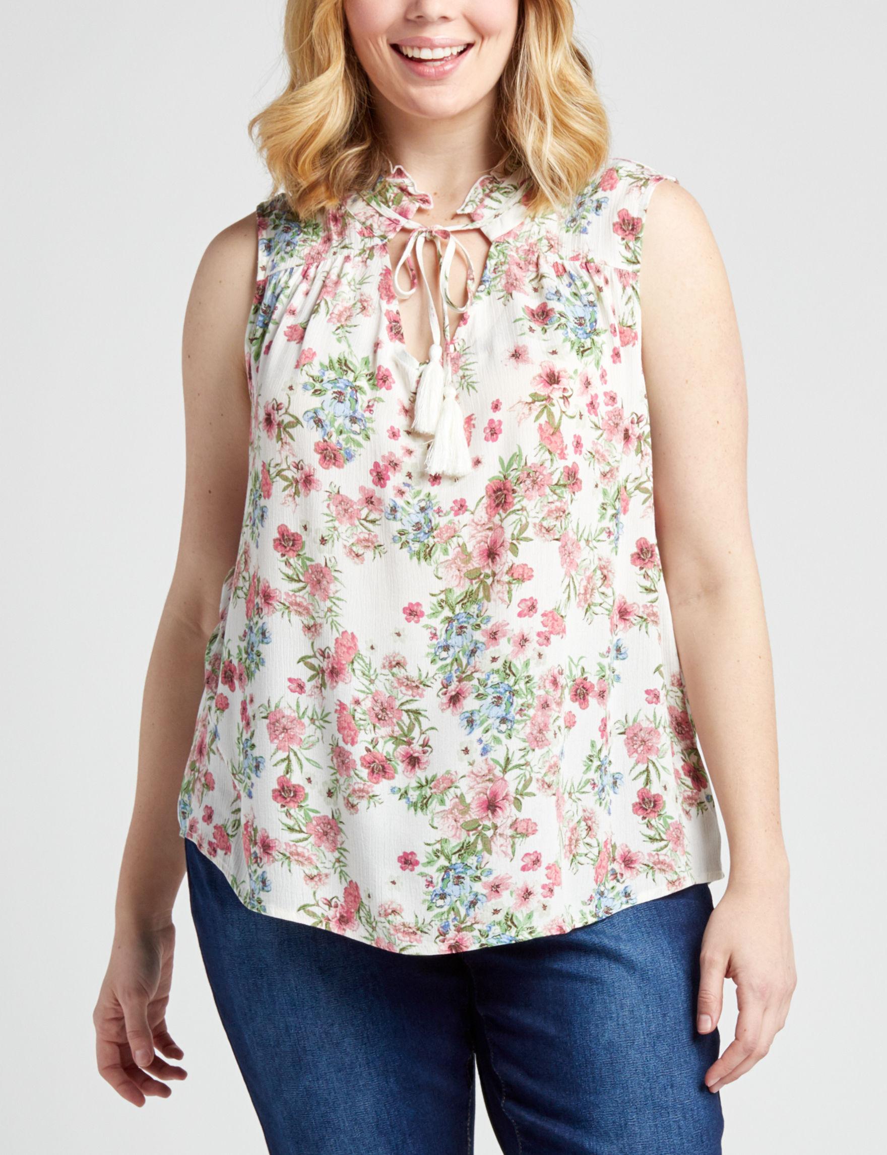 Self Esteem White Floral Shirts & Blouses