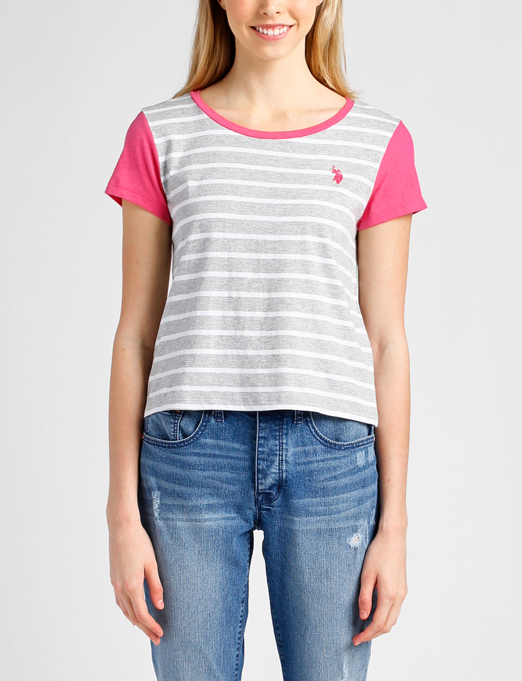 U.S. Polo Assn. Grey / Pink Tees & Tanks