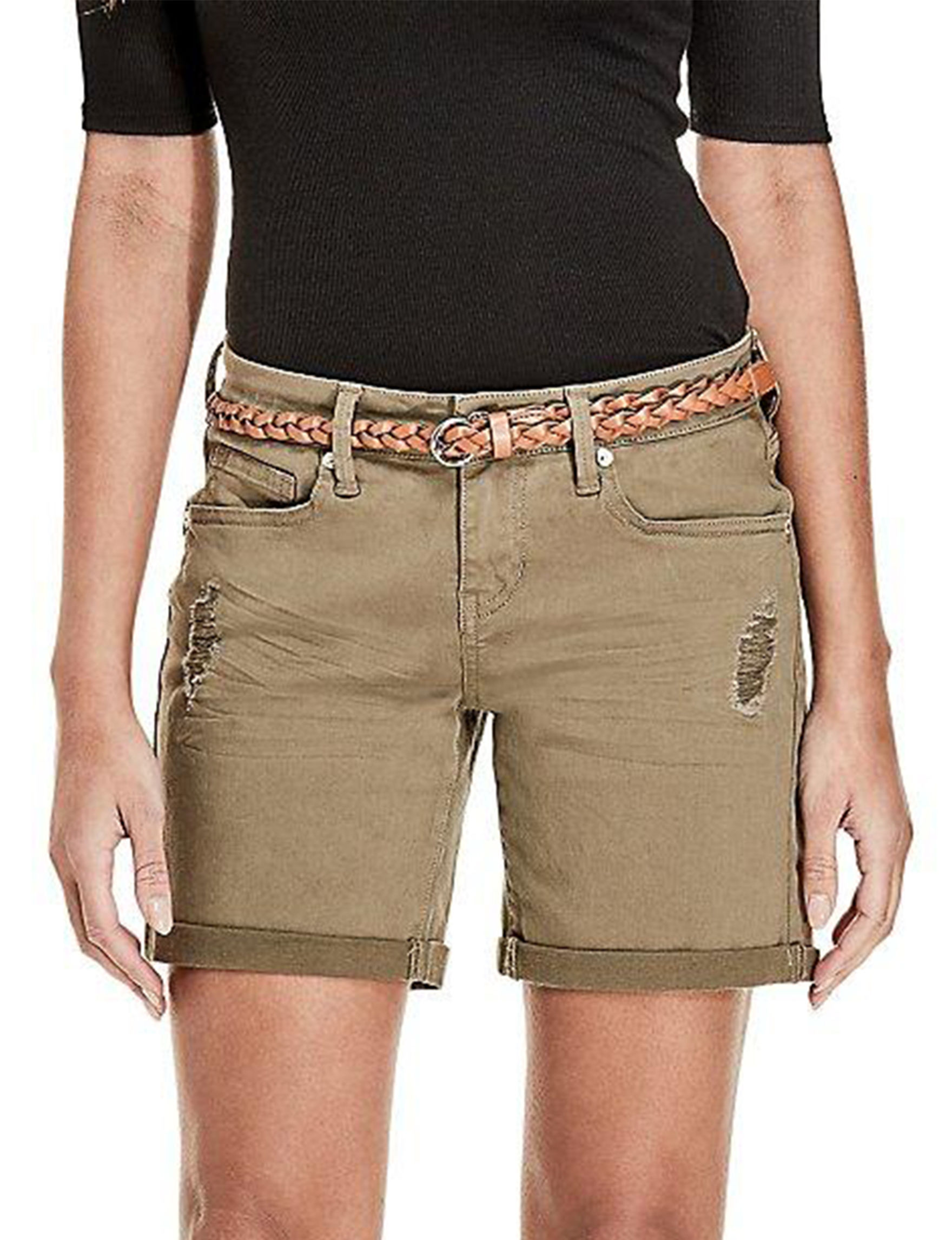 G by Guess Olive Denim Shorts