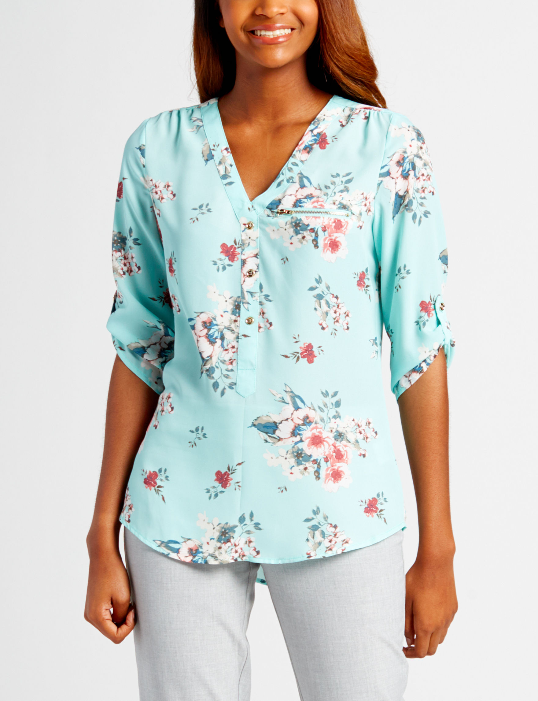 Wishful Park Teal Floral Shirts & Blouses