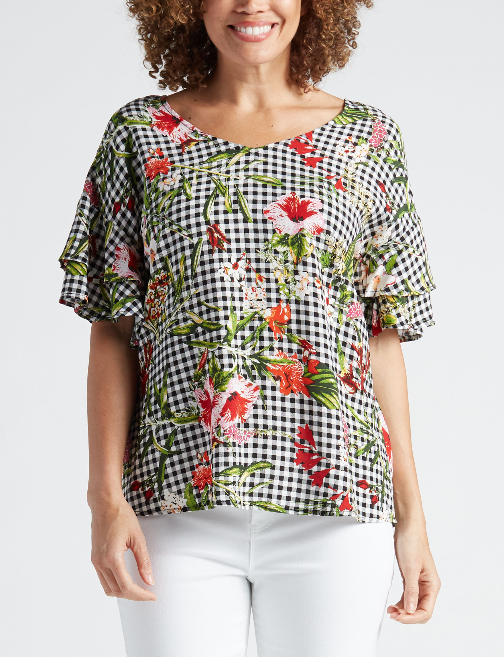 Signature Studio Gingham / Floral Shirts & Blouses