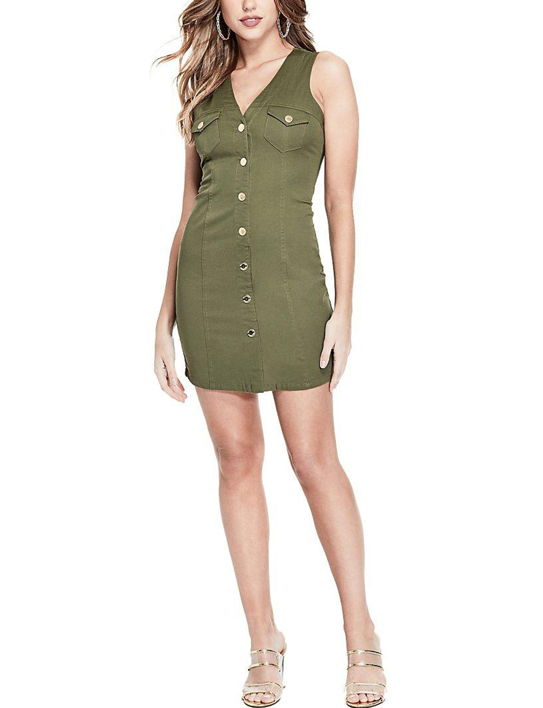 G by Guess Olive Everyday & Casual Shirt Dresses