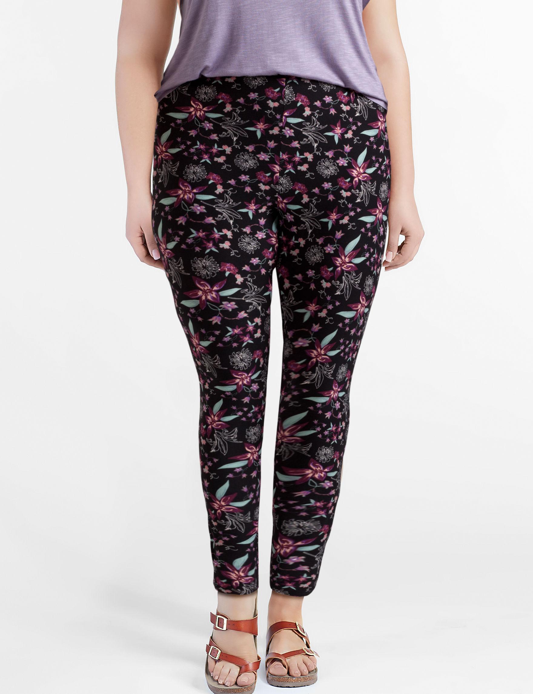 Just One Black Floral Leggings