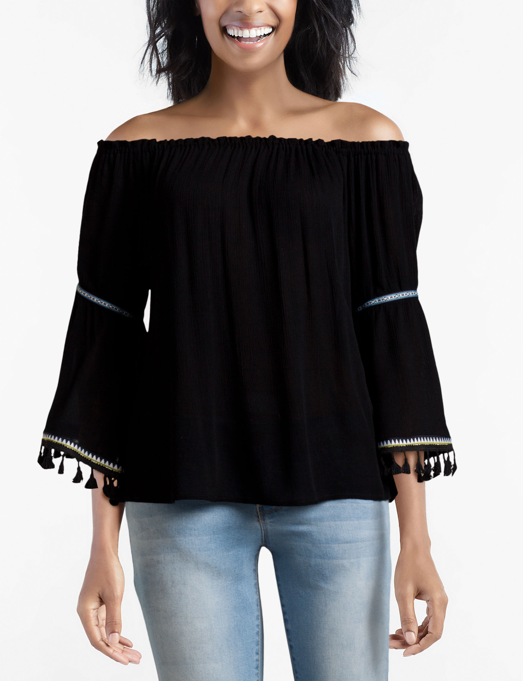 UPC 845809006736 product image for Signature Studio Tassel Trim Top - Black - L - Signature Studio | upcitemdb.com