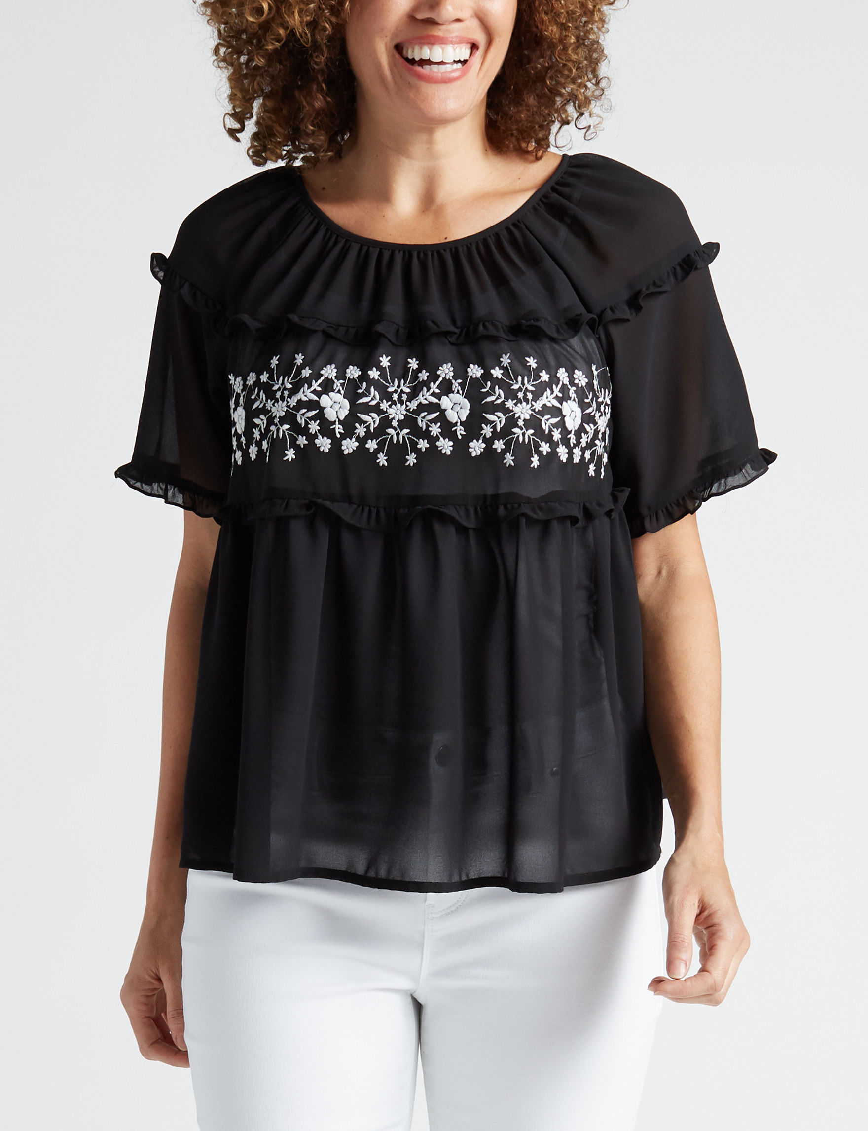 5fc76c74e7 Signature Studio Women's Embroidered Ruffle Top | Stage Stores