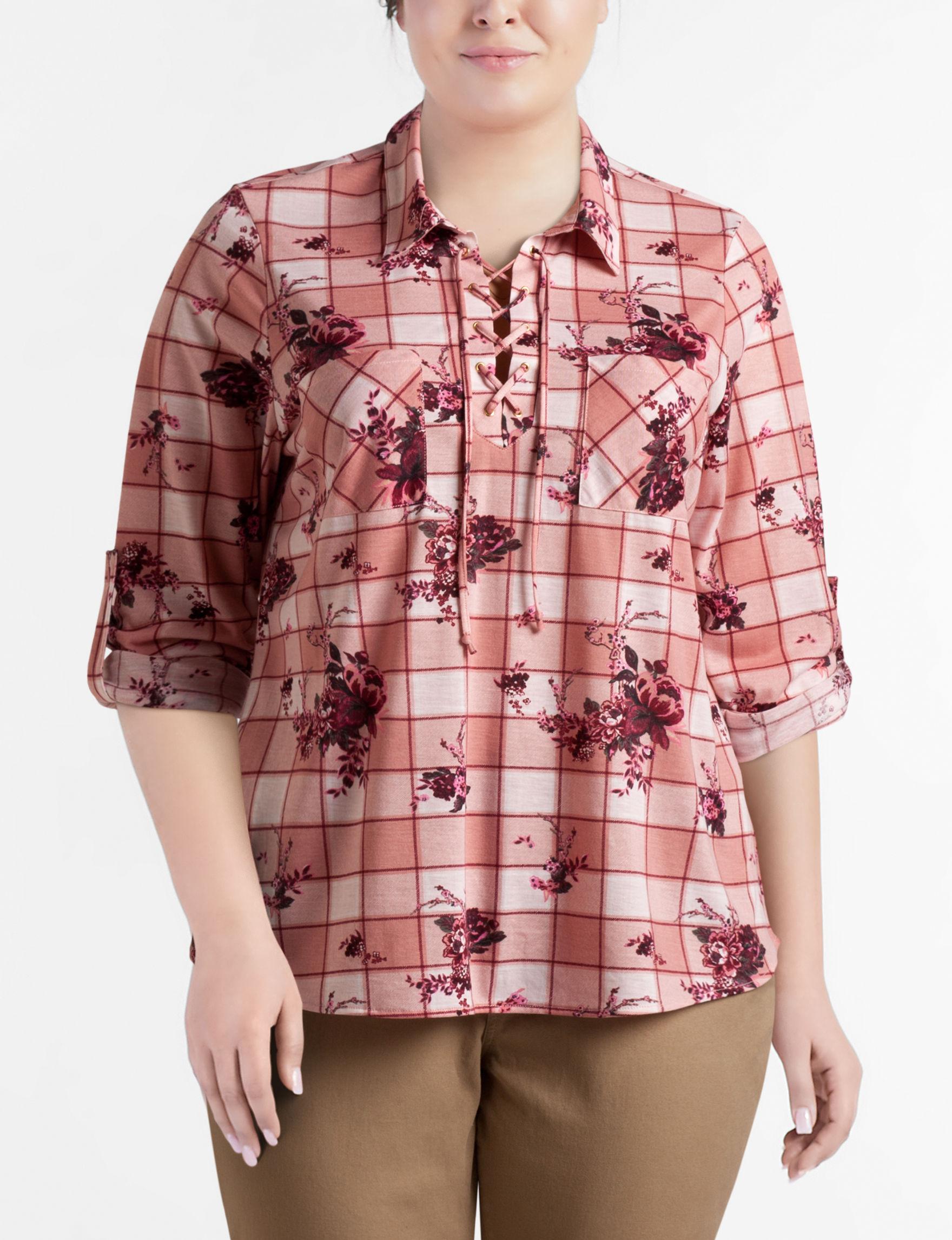 Justify Pink Plaid Shirts & Blouses