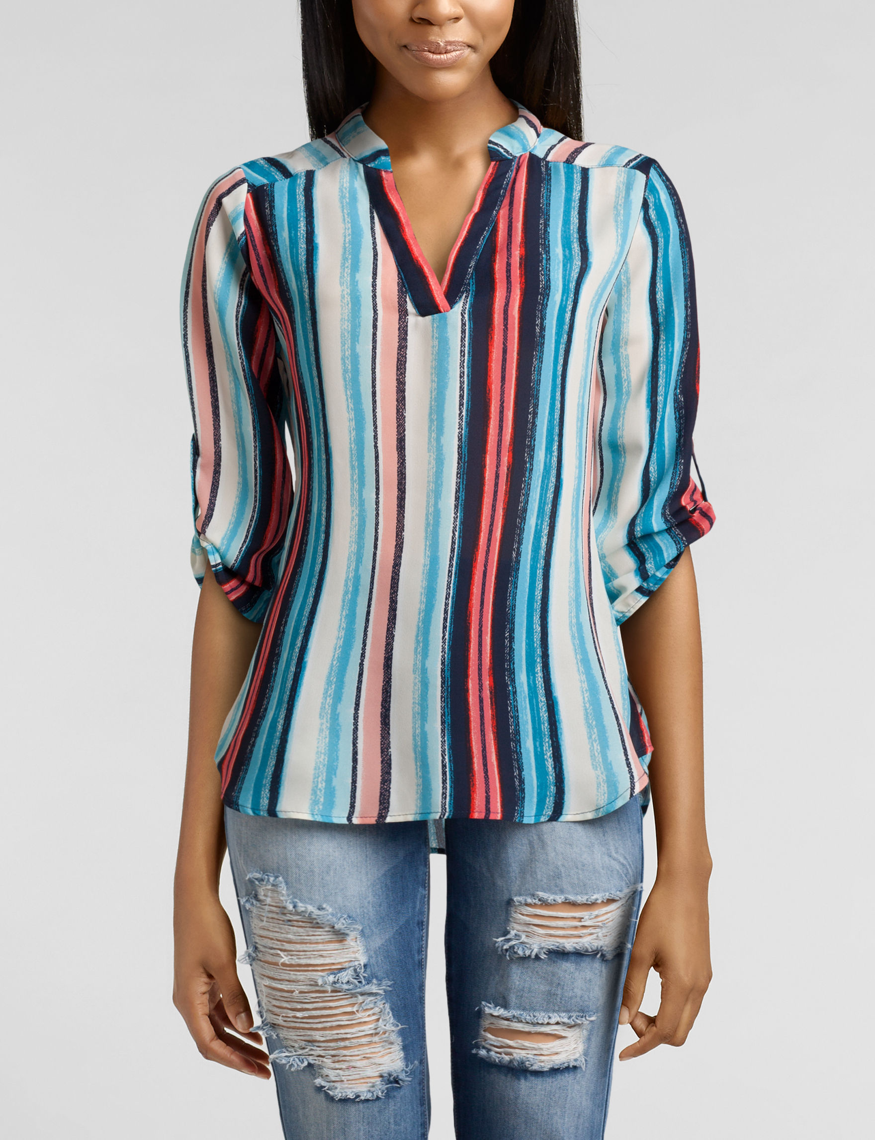 Wishful Park Blue Multi Shirts & Blouses