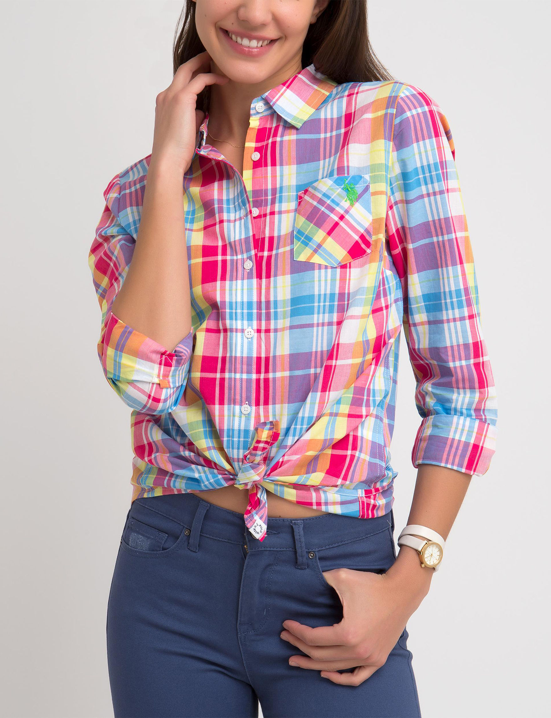 U.S. Polo Assn. Pink Multi Shirts & Blouses