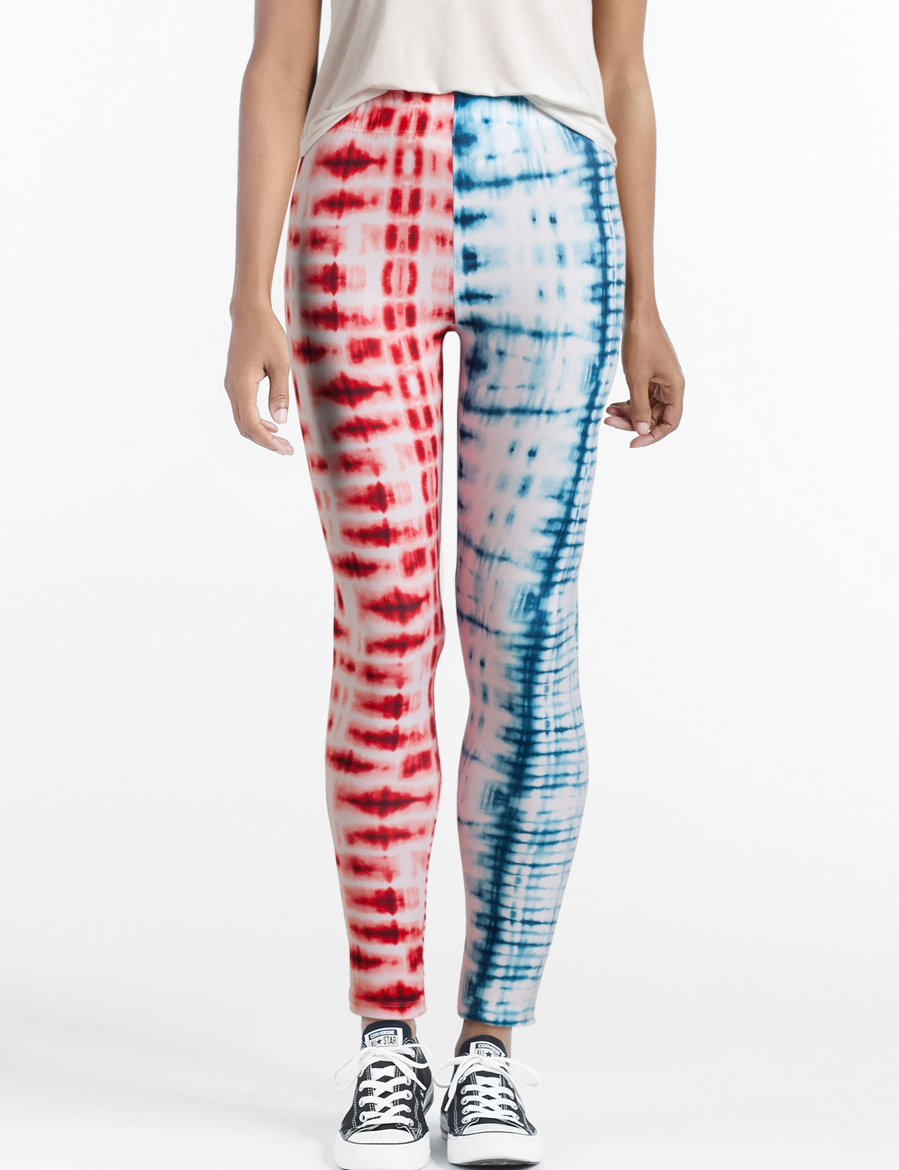 Justify Red White Leggings