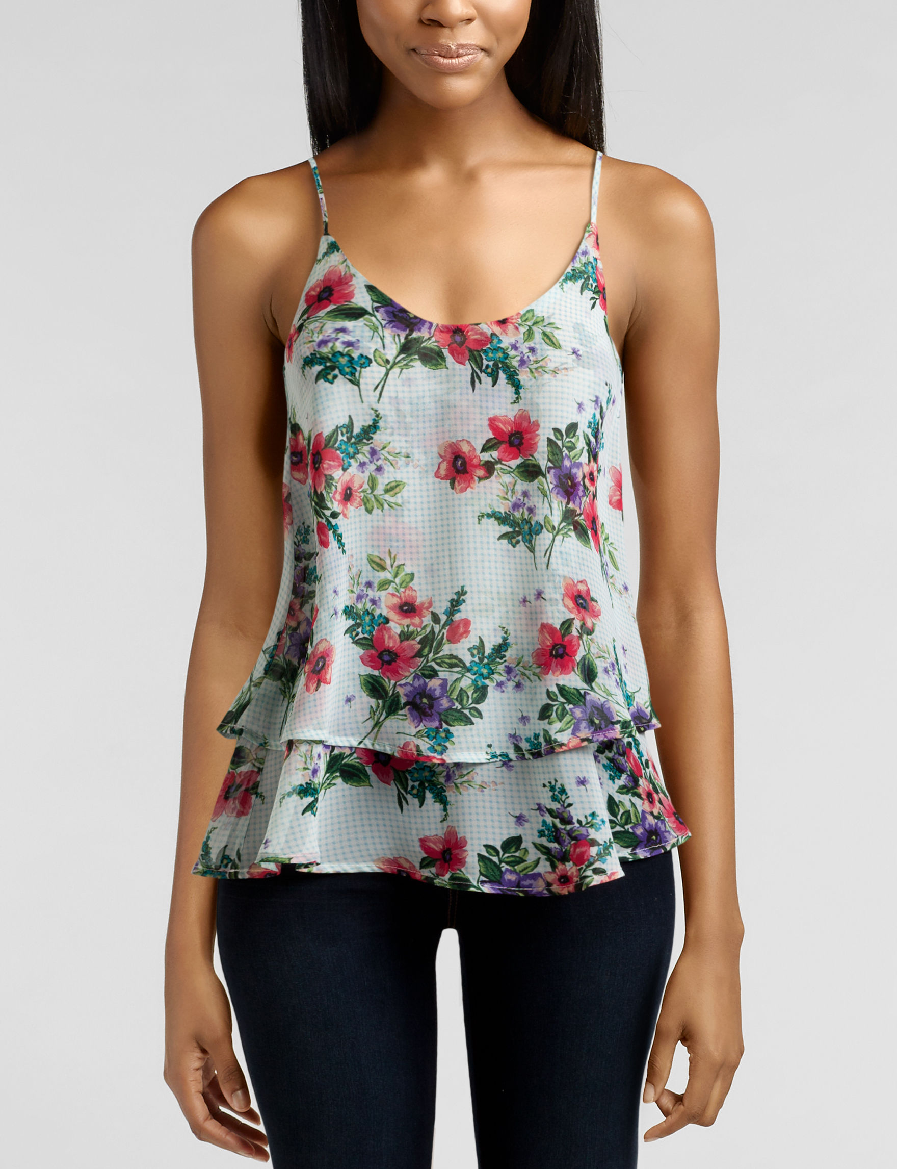 Wishful Park Blue Floral Tees & Tanks