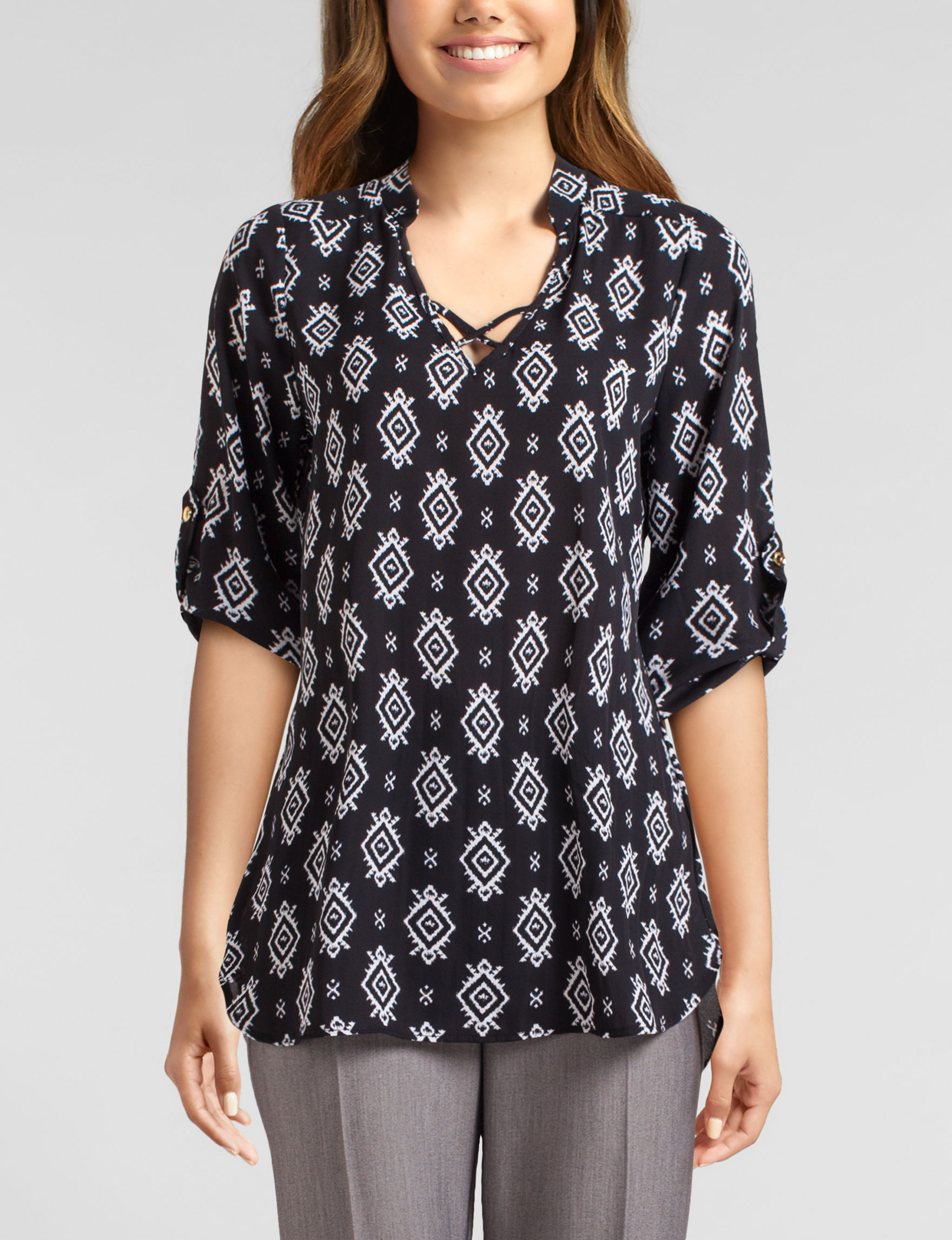 Wishful Park Black Multi Shirts & Blouses