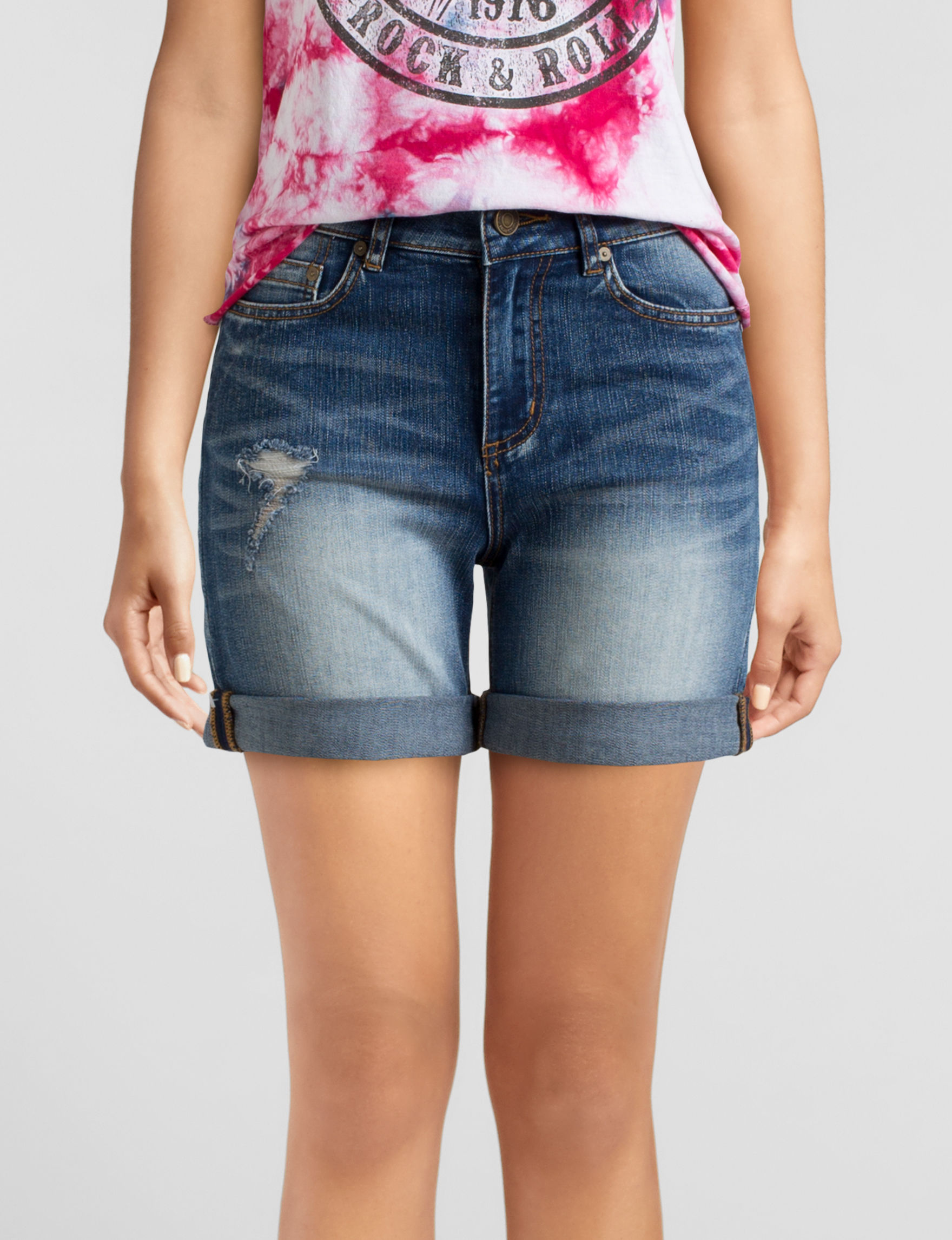 Indigo Rein Medium Blue Denim Shorts