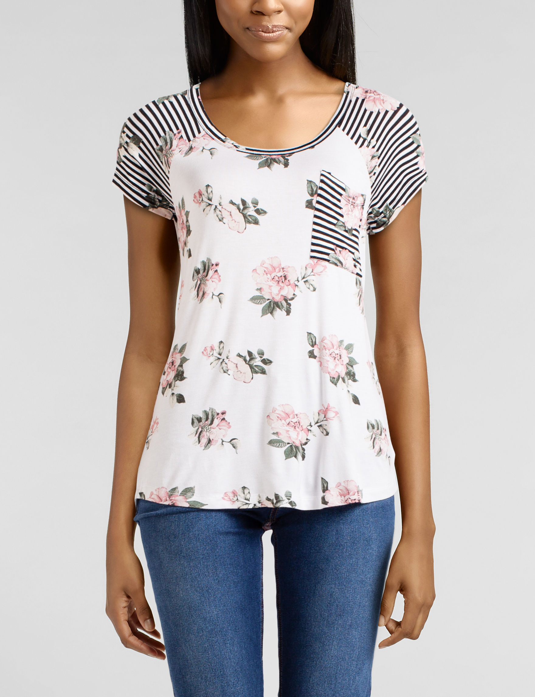 Wishful Park Ivory Floral Tees & Tanks