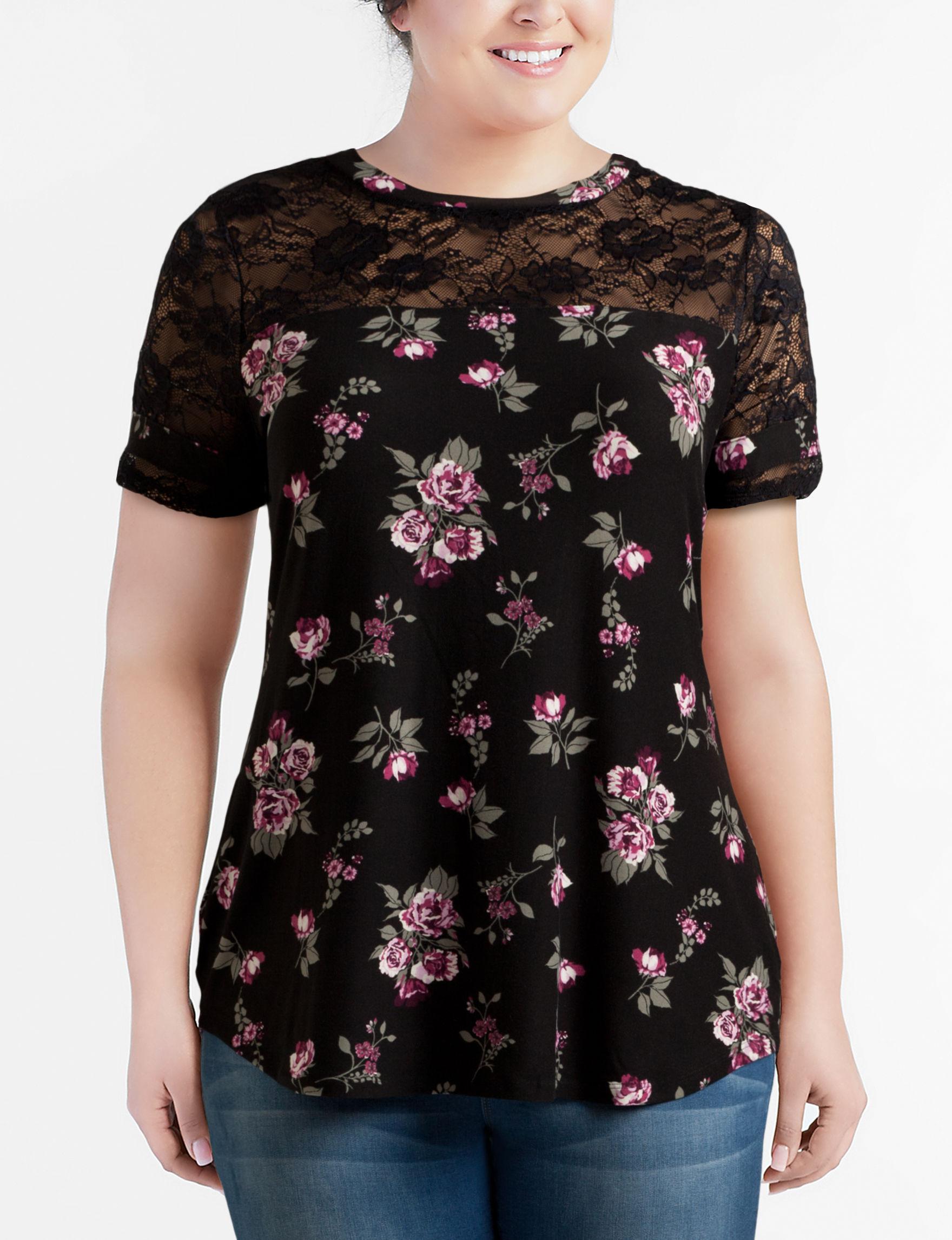 No Comment Black Floral Tunics