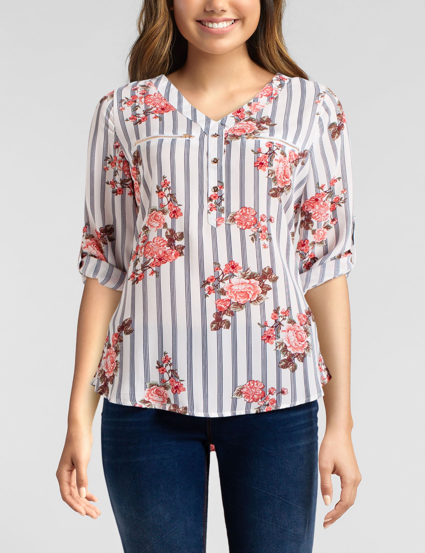 Wishful Park White Floral Shirts & Blouses