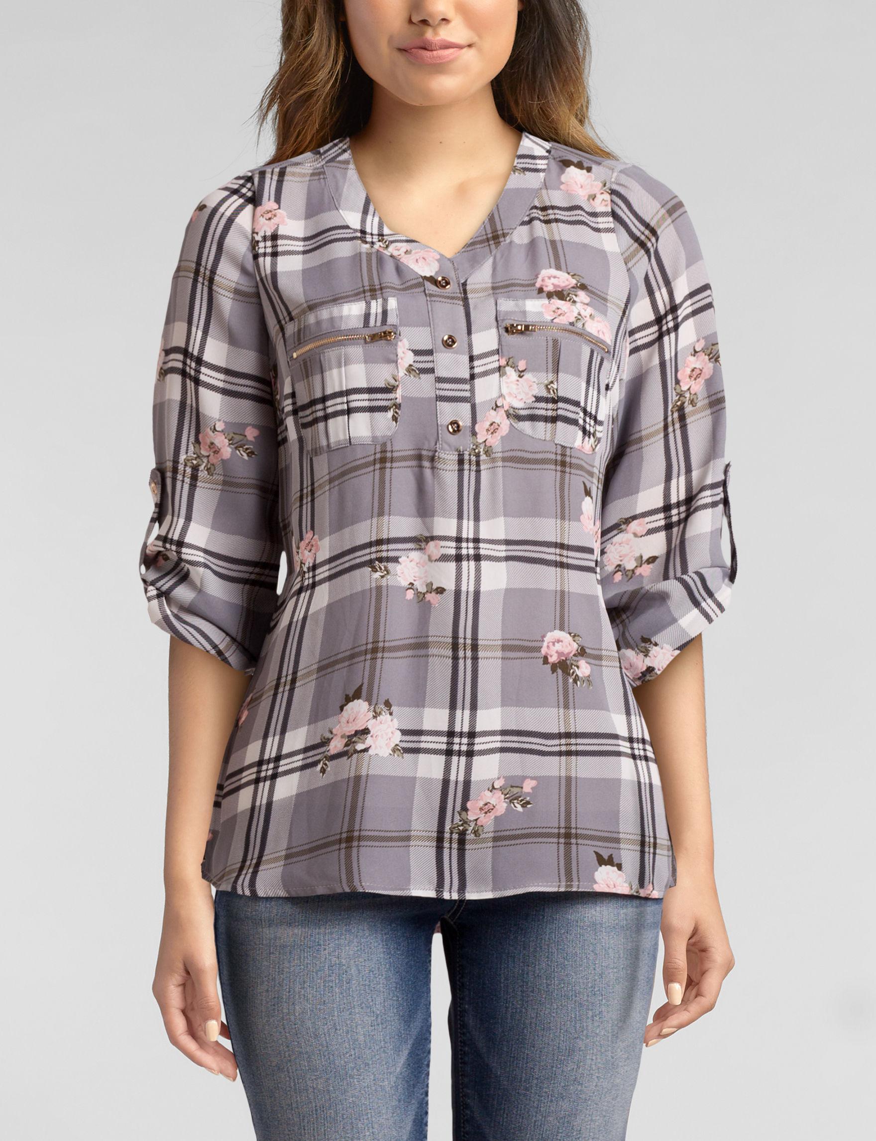 Wishful Park Grey Plaid Shirts & Blouses