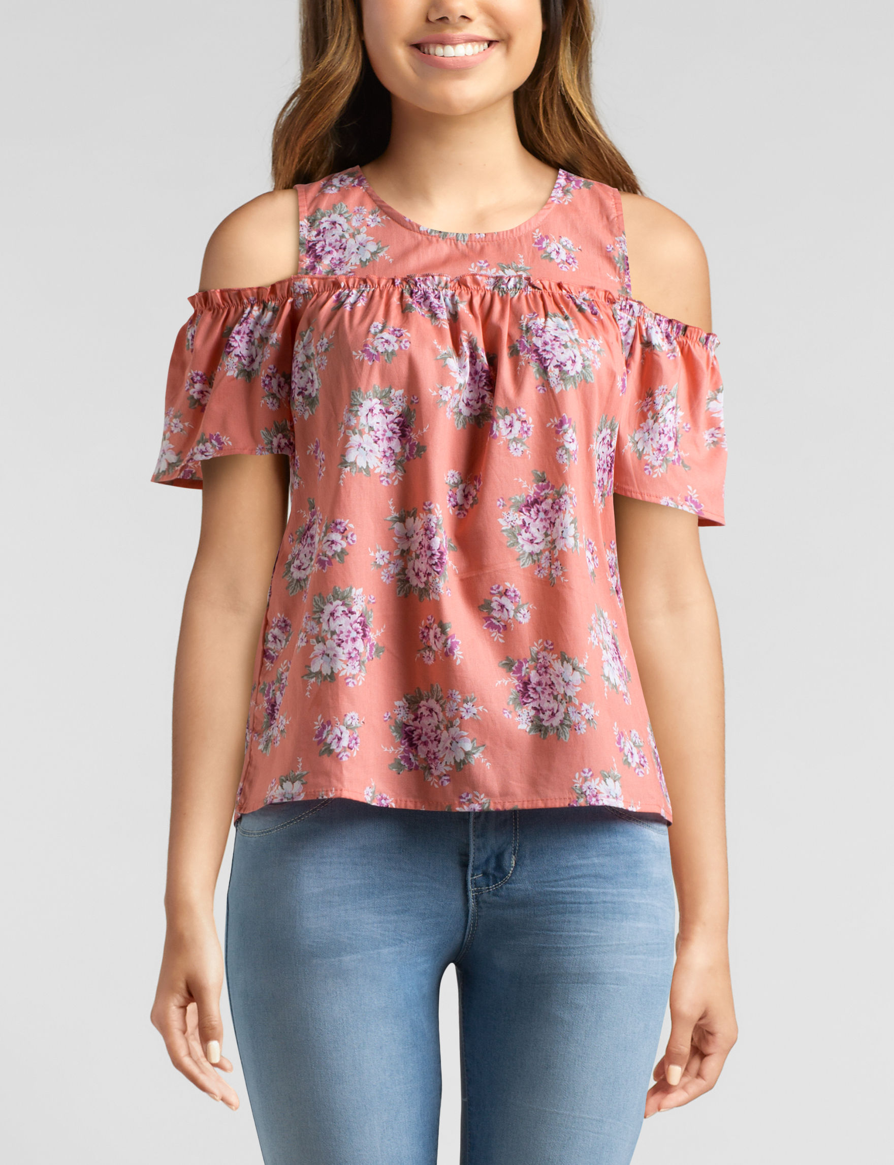 Ultra Flirt Coral Shirts & Blouses