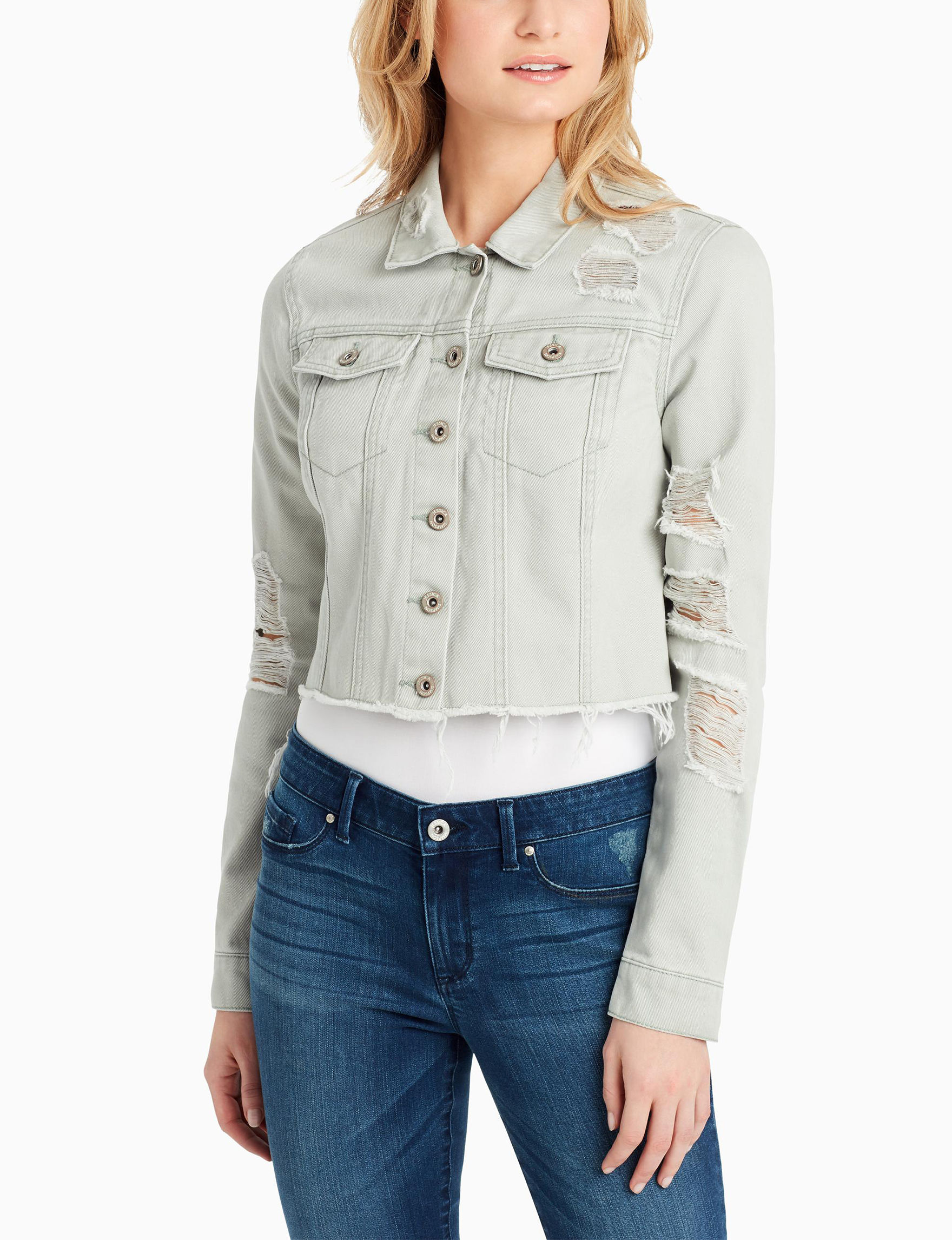 Jessica Simpson Light Green Denim Jackets