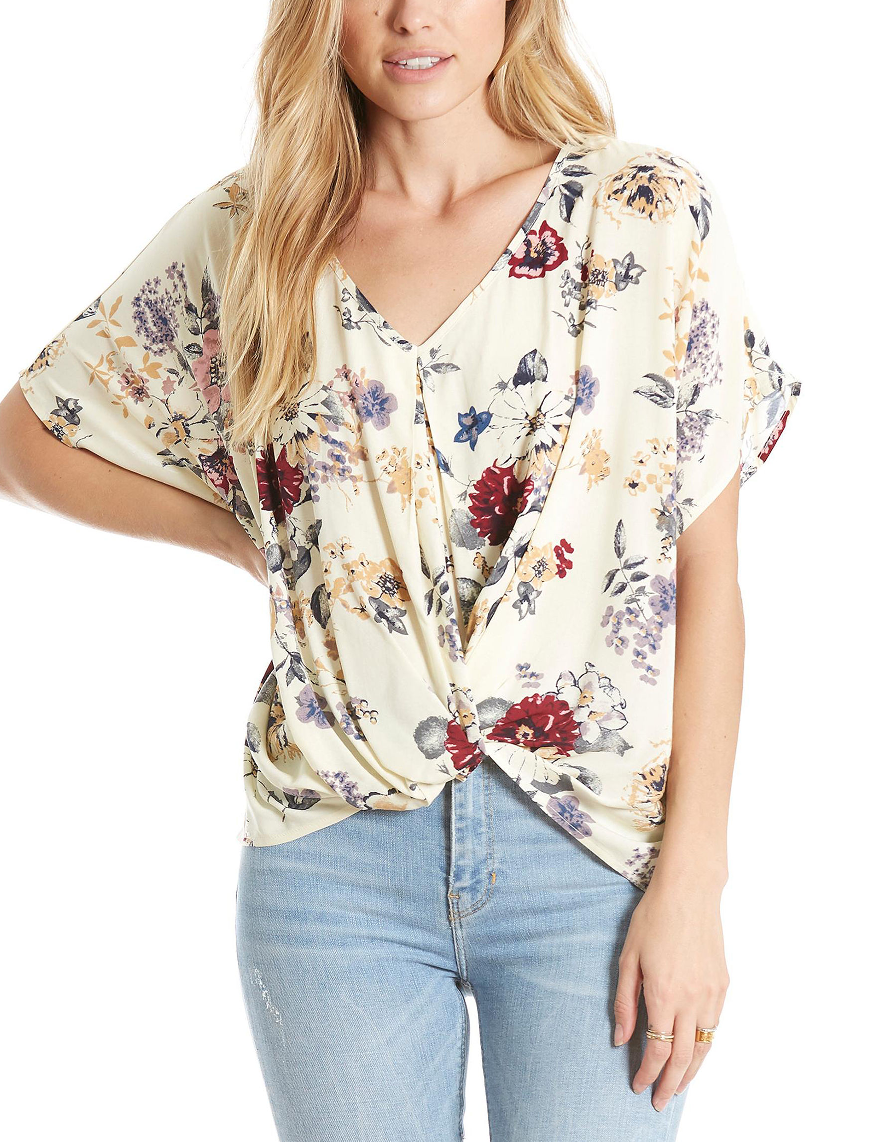 Eyeshadow Ivory Floral Shirts & Blouses