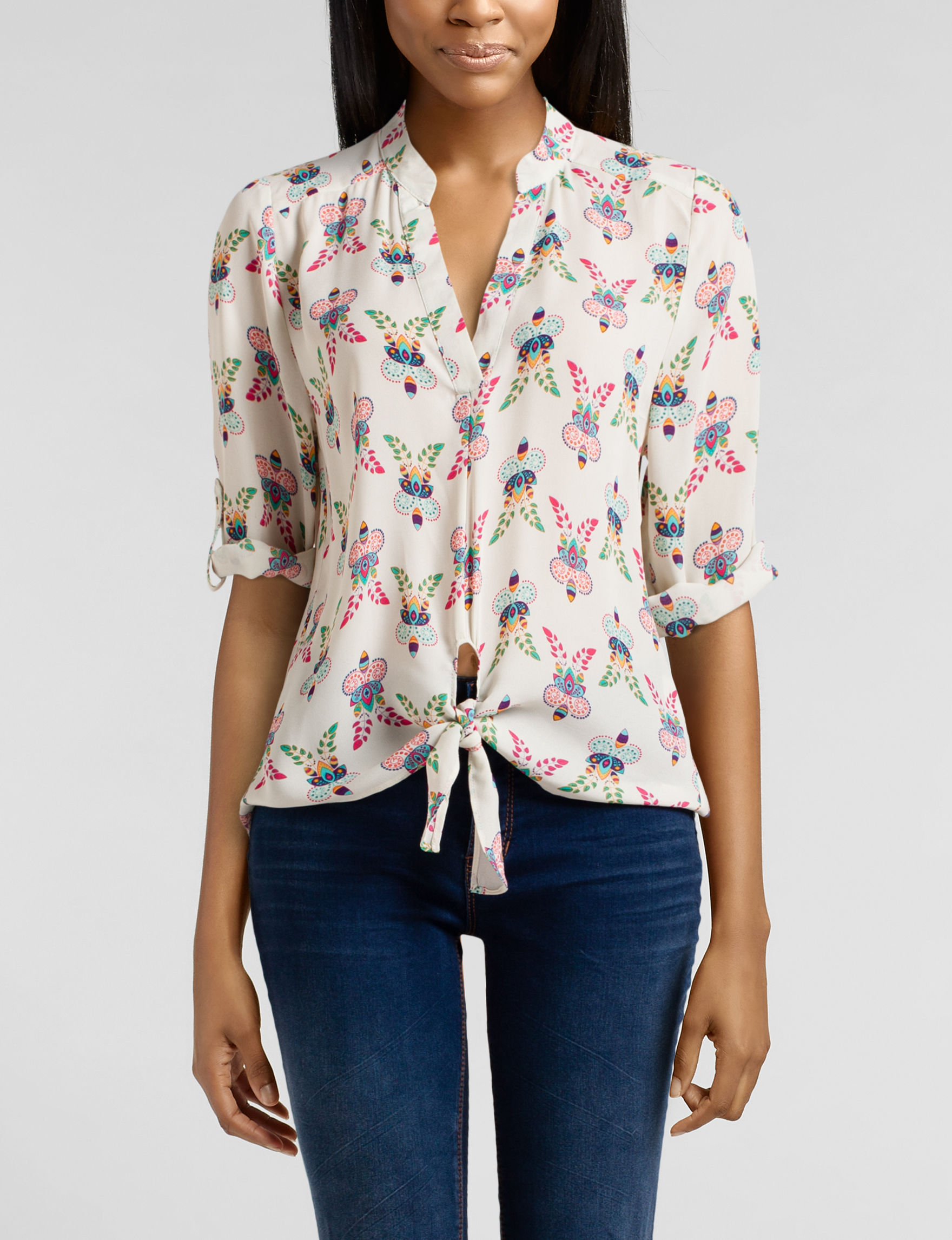 Wishful Park Ivory Multi Shirts & Blouses