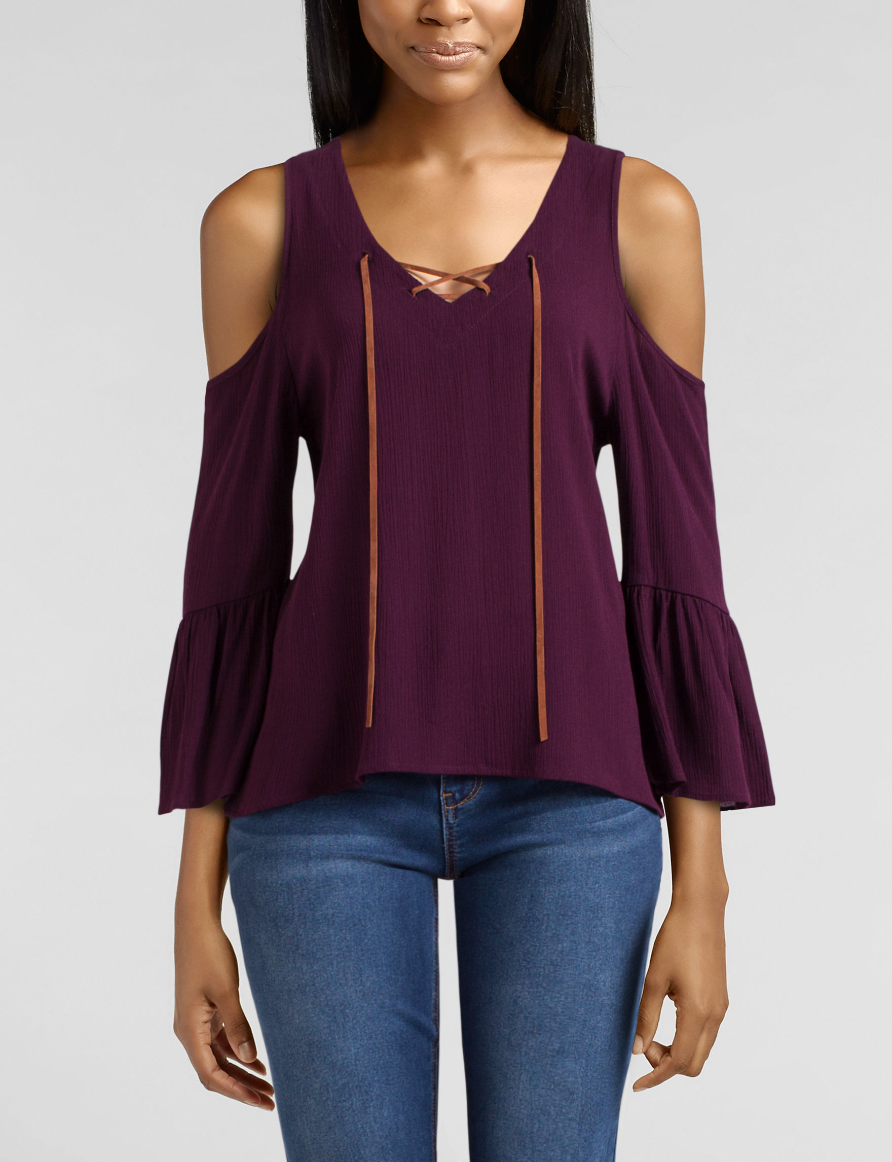Wishful Park Lace-up Cold Shoulder Top | Stage Stores