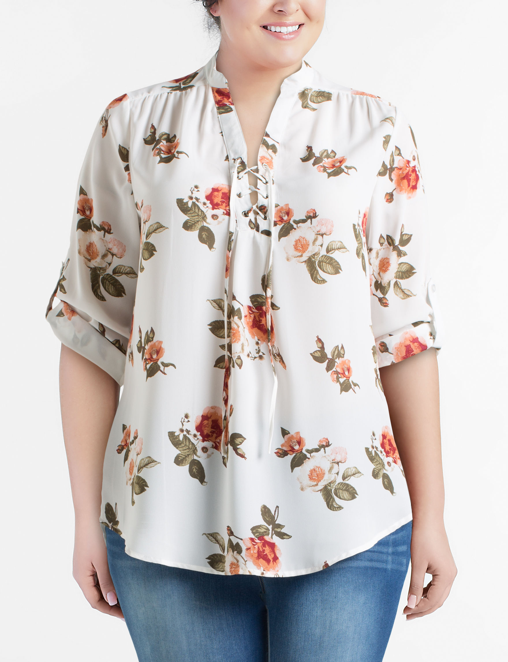 Justify Ivory Floral Shirts & Blouses