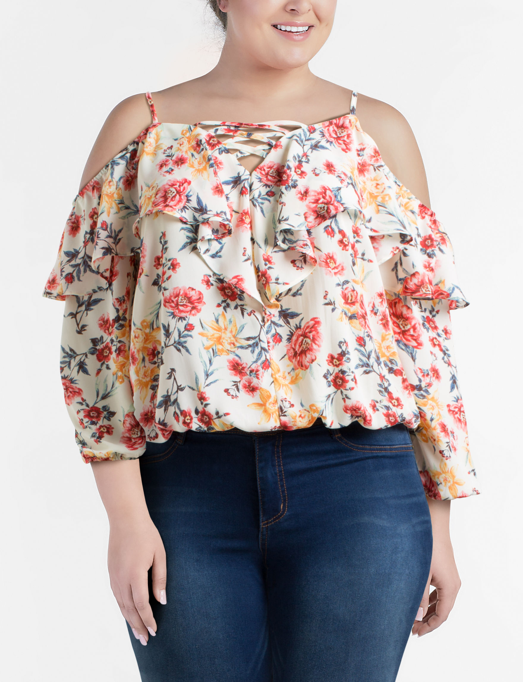 Liberty Love Ivory Floral Shirts & Blouses