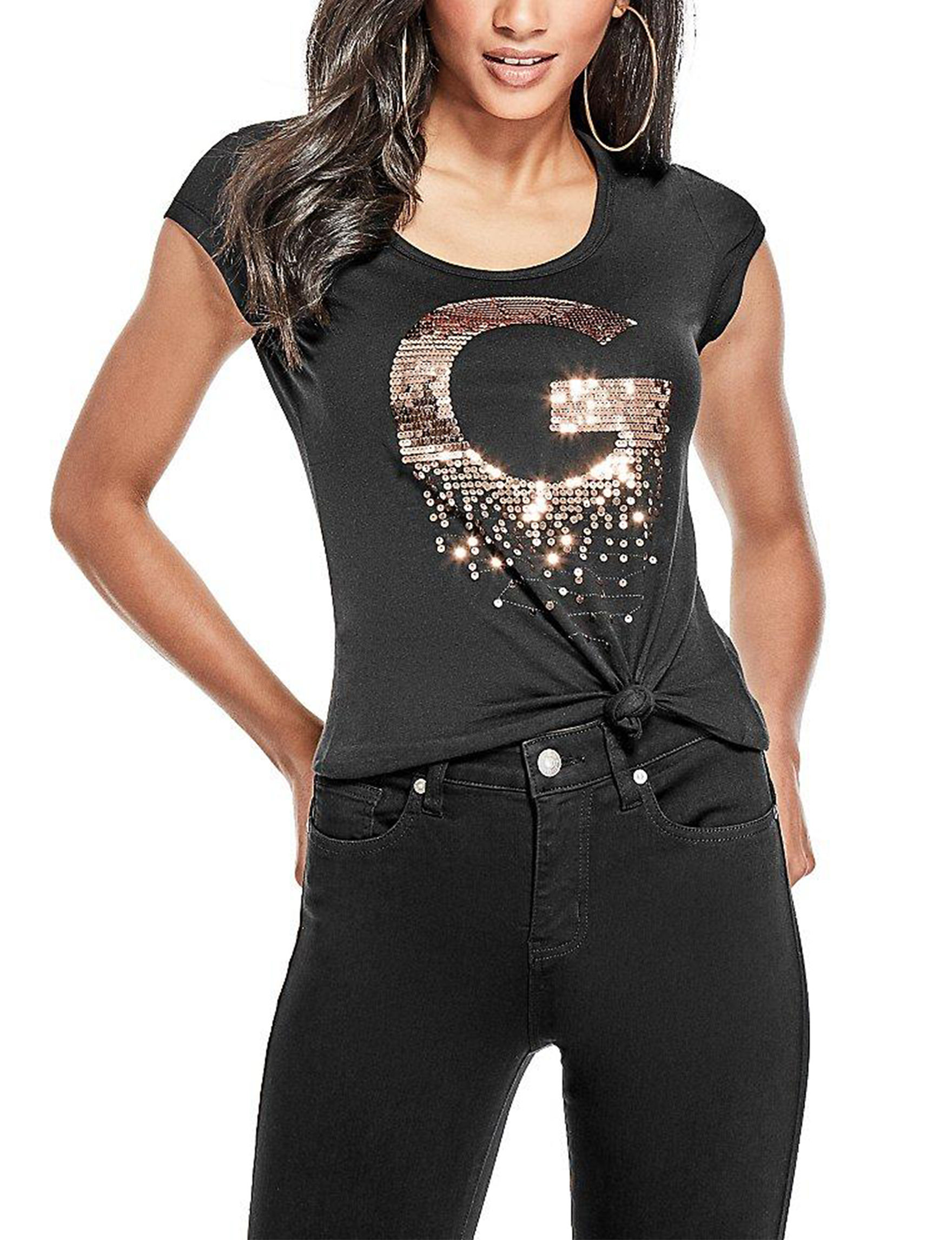 G by Guess Black Tees & Tanks