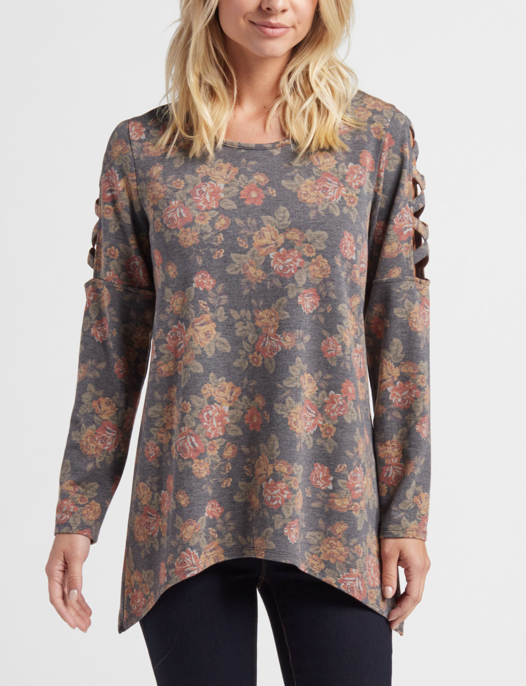 A. Byer Green Floral Shirts & Blouses