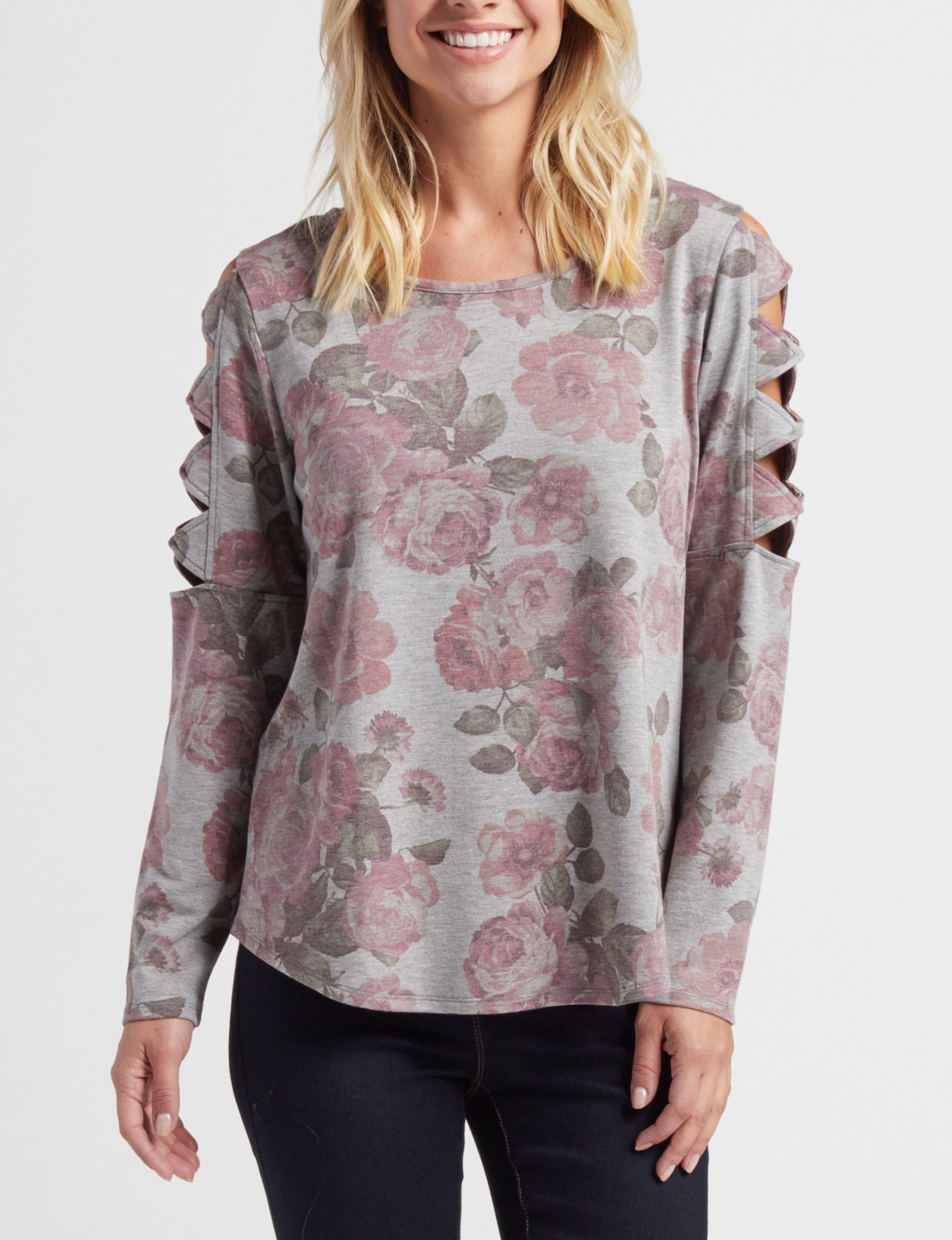 AGB Grey Floral Shirts & Blouses