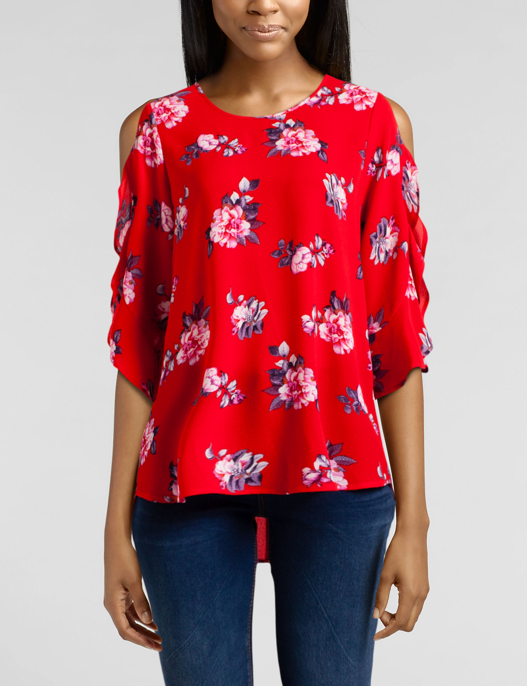 Wishful Park Red Floral Shirts & Blouses
