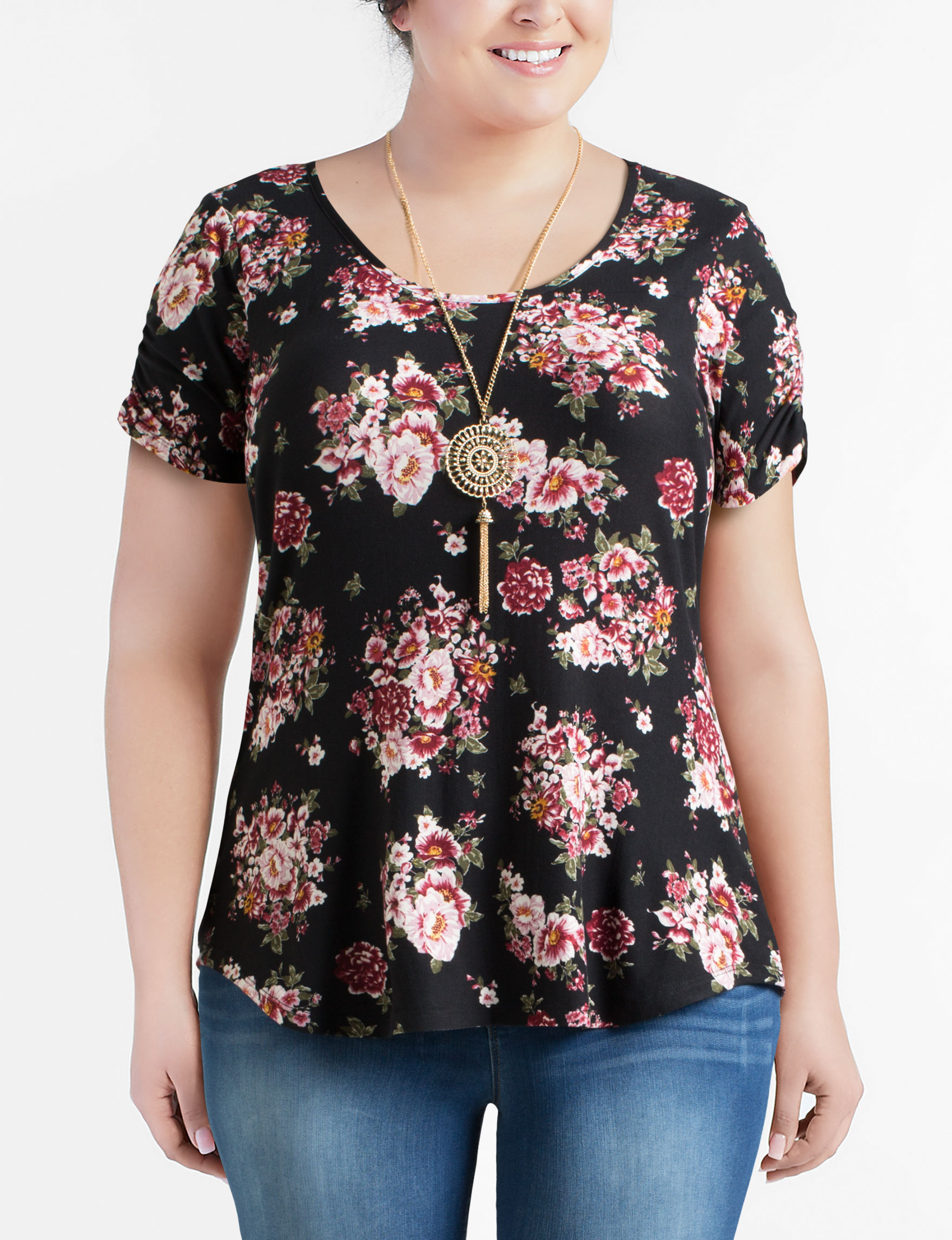 No Comment Black Floral Shirts & Blouses