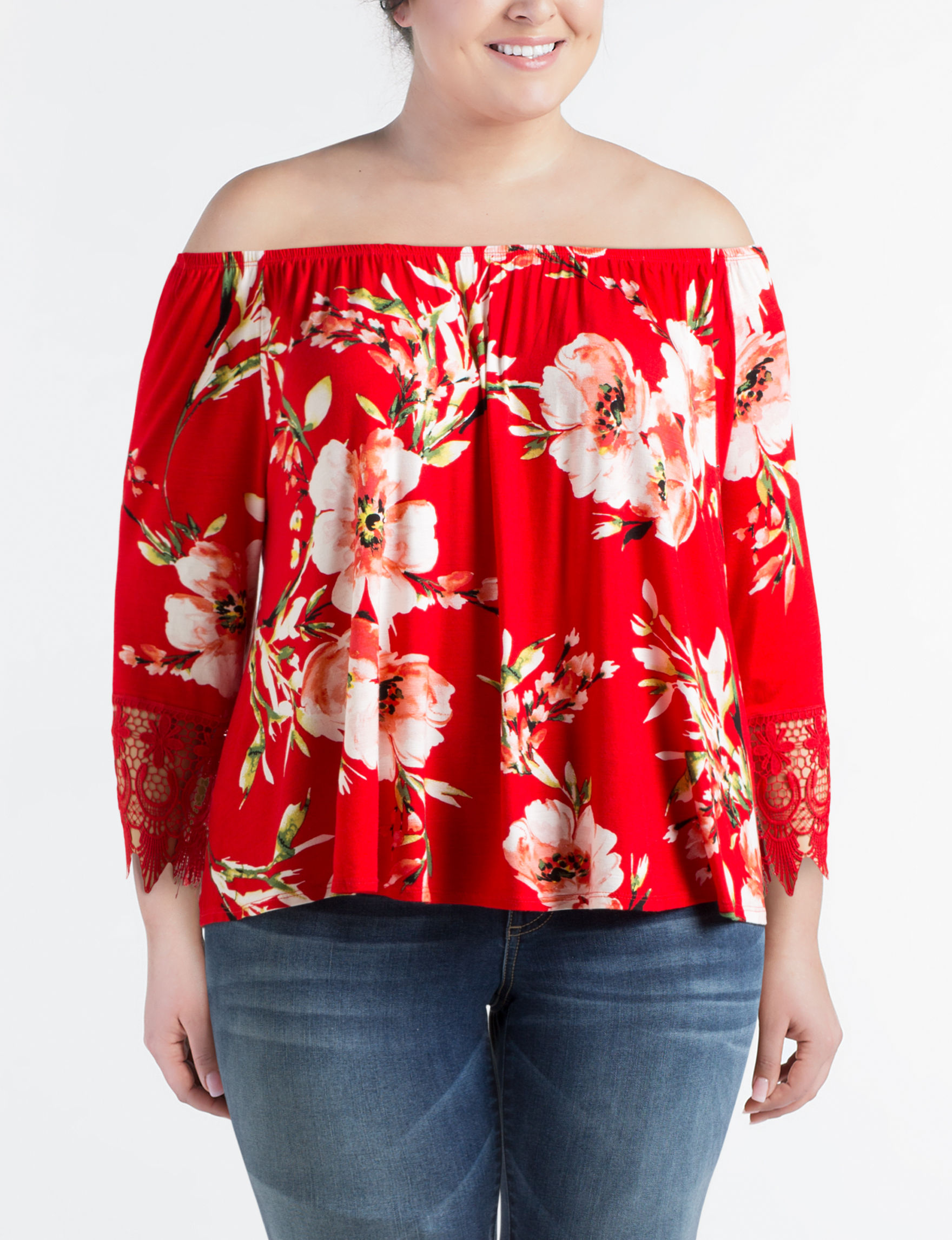 Liberty Love Red Floral Shirts & Blouses