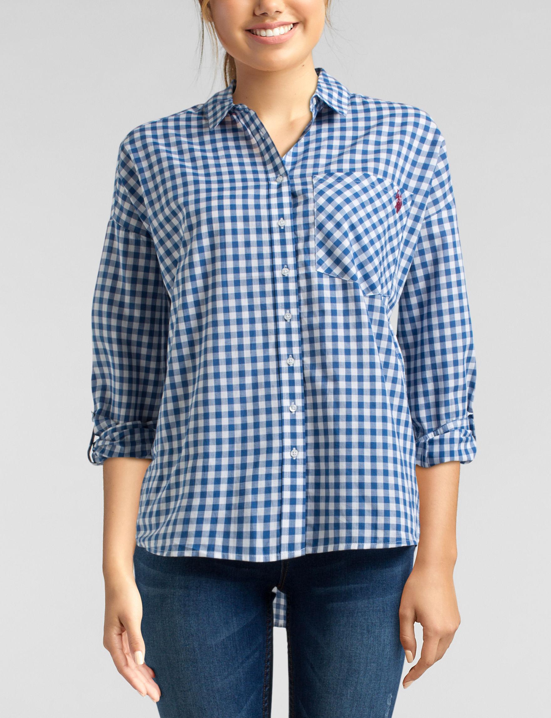 U.S. Polo Assn. White / Navy Shirts & Blouses
