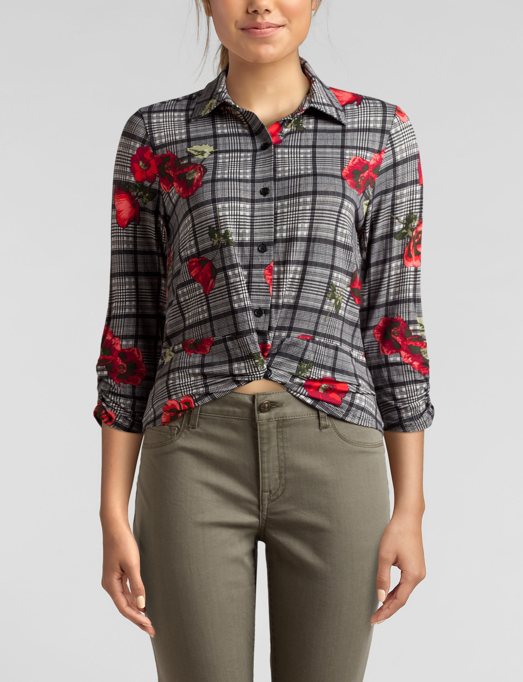 Almost Famous Black / Red Shirts & Blouses