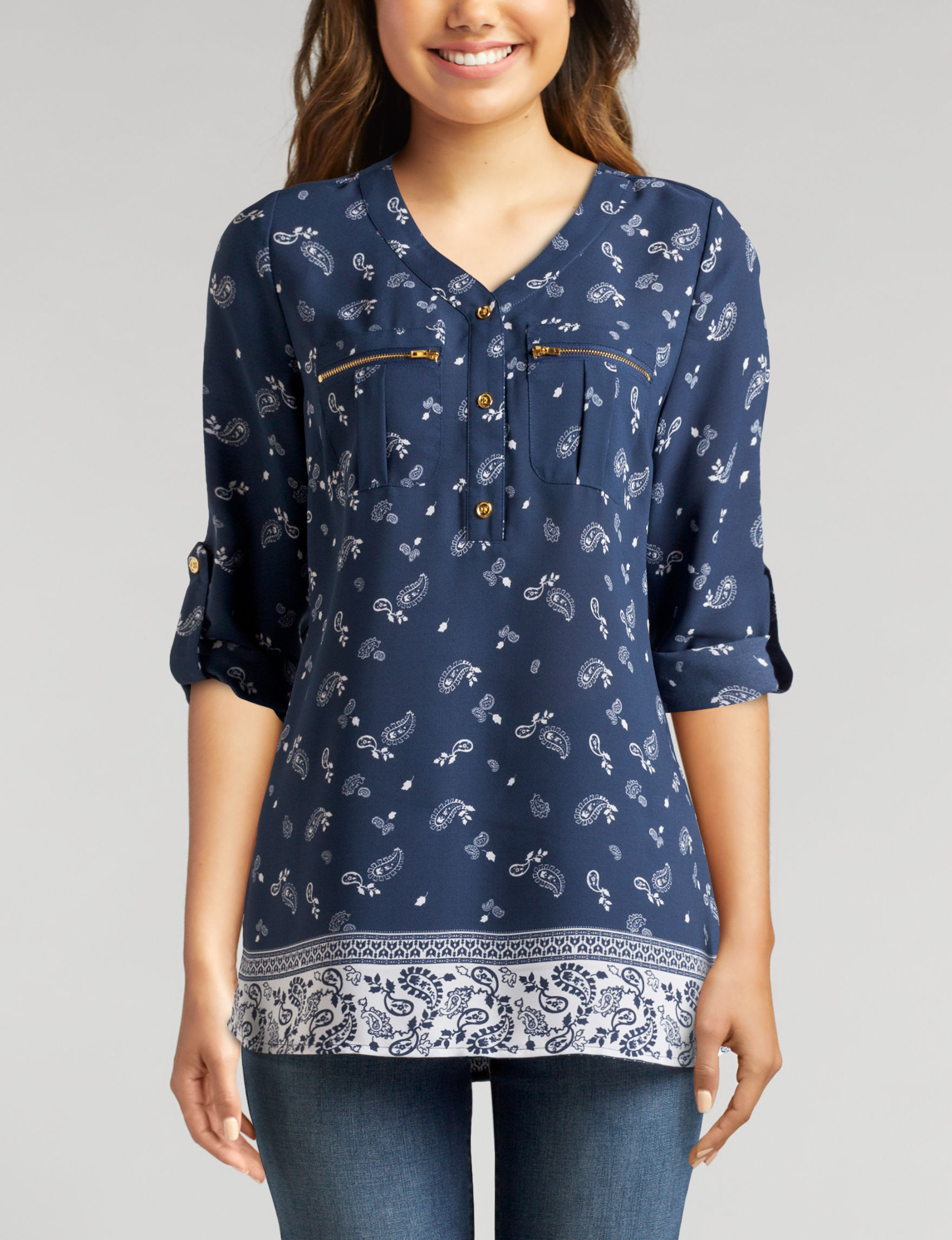 Wishful Park Navy Shirts & Blouses