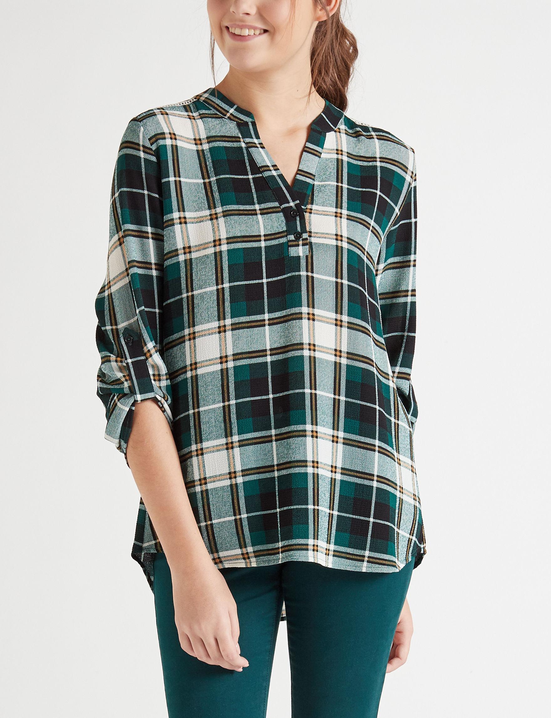 Wishful Park Green Plaid Shirts & Blouses